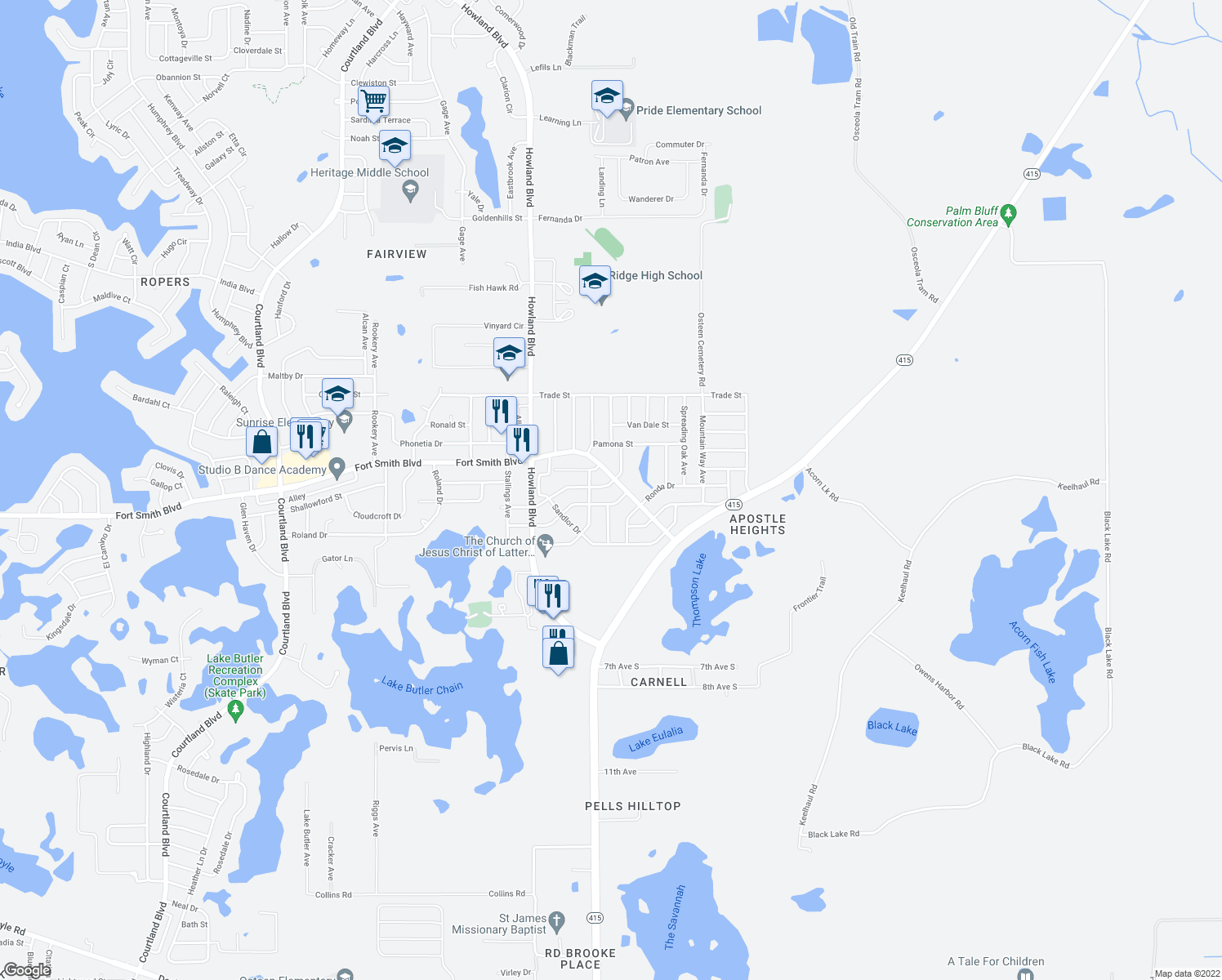 map of restaurants, bars, coffee shops, grocery stores, and more near 3611 Monument Drive in Deltona
