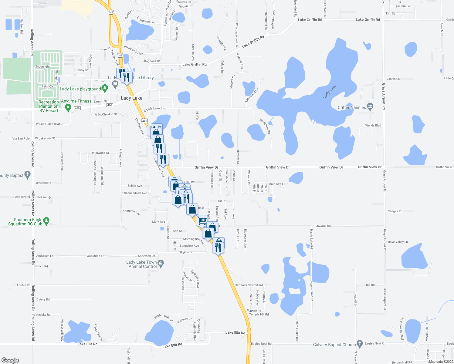 map of restaurants, bars, coffee shops, grocery stores, and more near 401 Sunshine Blvd in Lady Lake