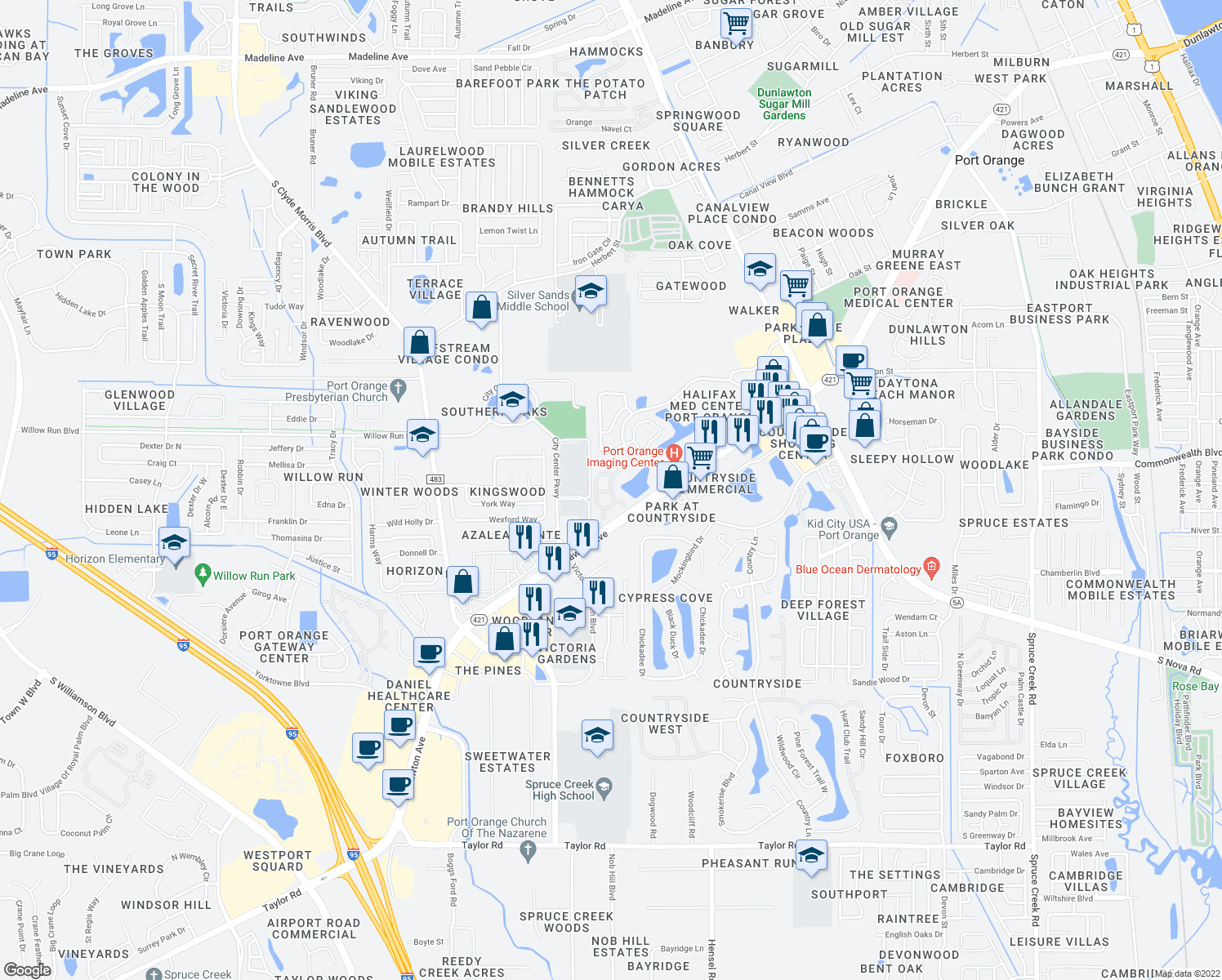 map of restaurants, bars, coffee shops, grocery stores, and more near 1010 N Swallow Tail Dr in Port Orange