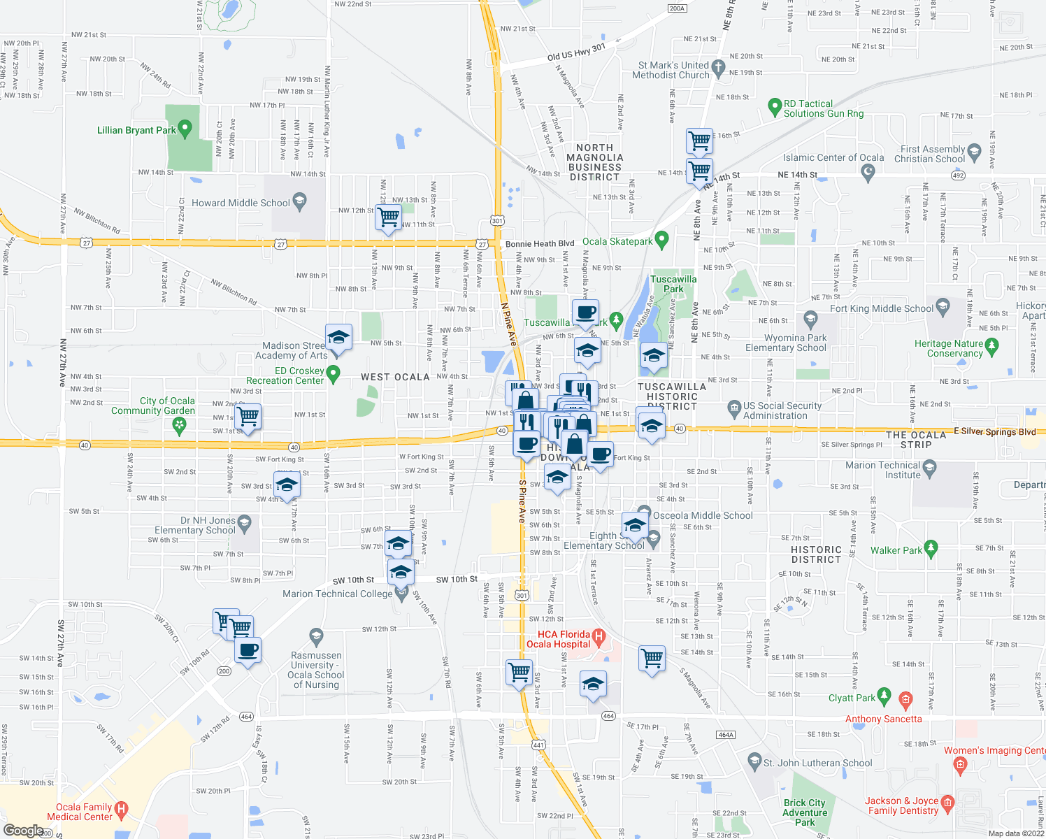 map of restaurants, bars, coffee shops, grocery stores, and more near in Ocala