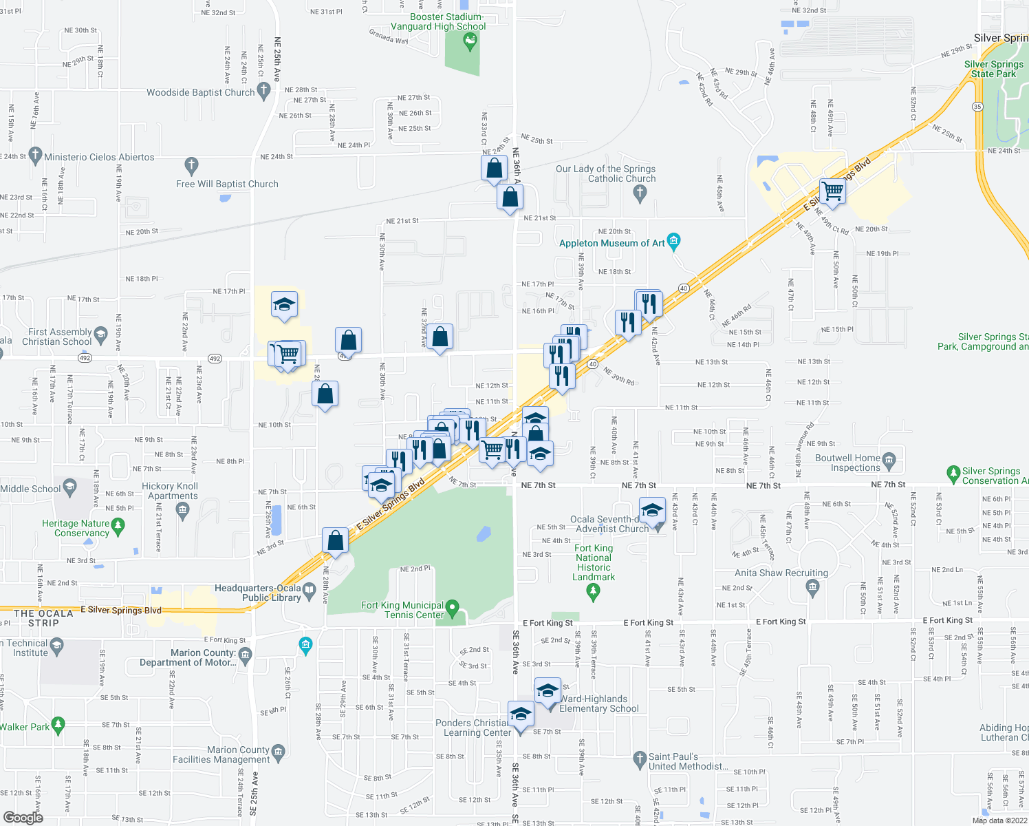 map of restaurants, bars, coffee shops, grocery stores, and more near Rte 40 & NE 36th Ave in Ocala