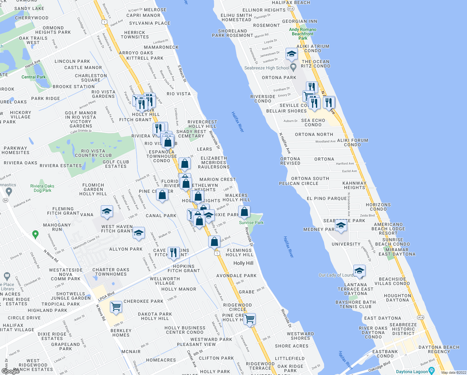 map of restaurants, bars, coffee shops, grocery stores, and more near 1402 Riverside Drive in Daytona Beach