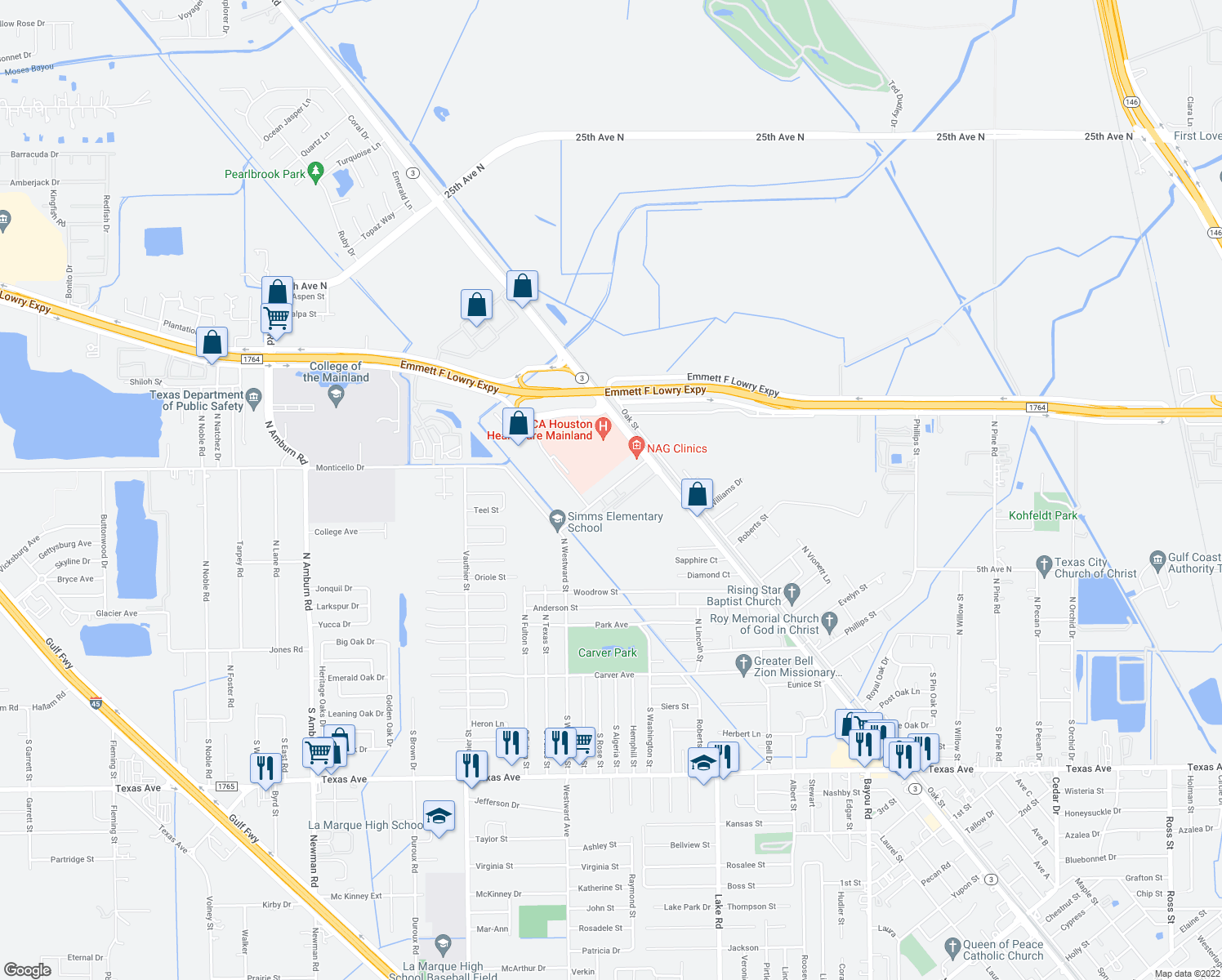 map of restaurants, bars, coffee shops, grocery stores, and more near 6602 Memorial Drive in Texas City