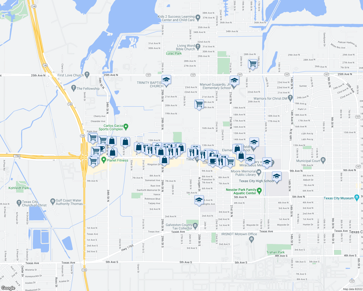 map of restaurants, bars, coffee shops, grocery stores, and more near 2621 13th Avenue North in Texas City