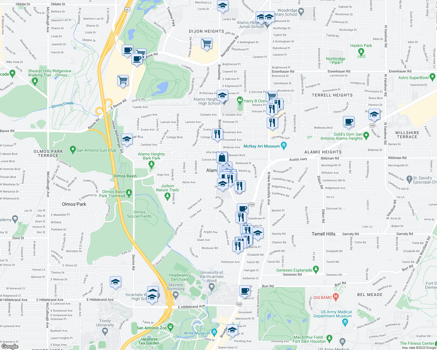 map of restaurants, bars, coffee shops, grocery stores, and more near Argo Ave & Townsend Ave in Alamo Heights