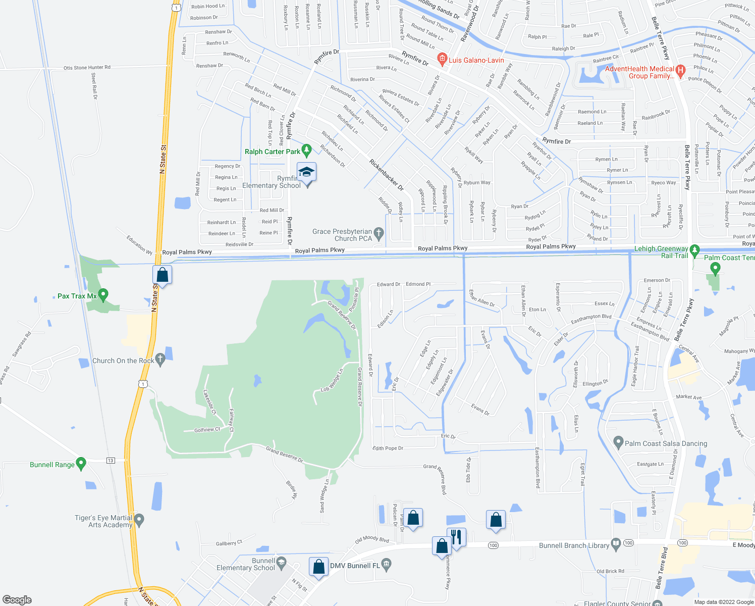 map of restaurants, bars, coffee shops, grocery stores, and more near 13 Edwin Ln in Palm Coast