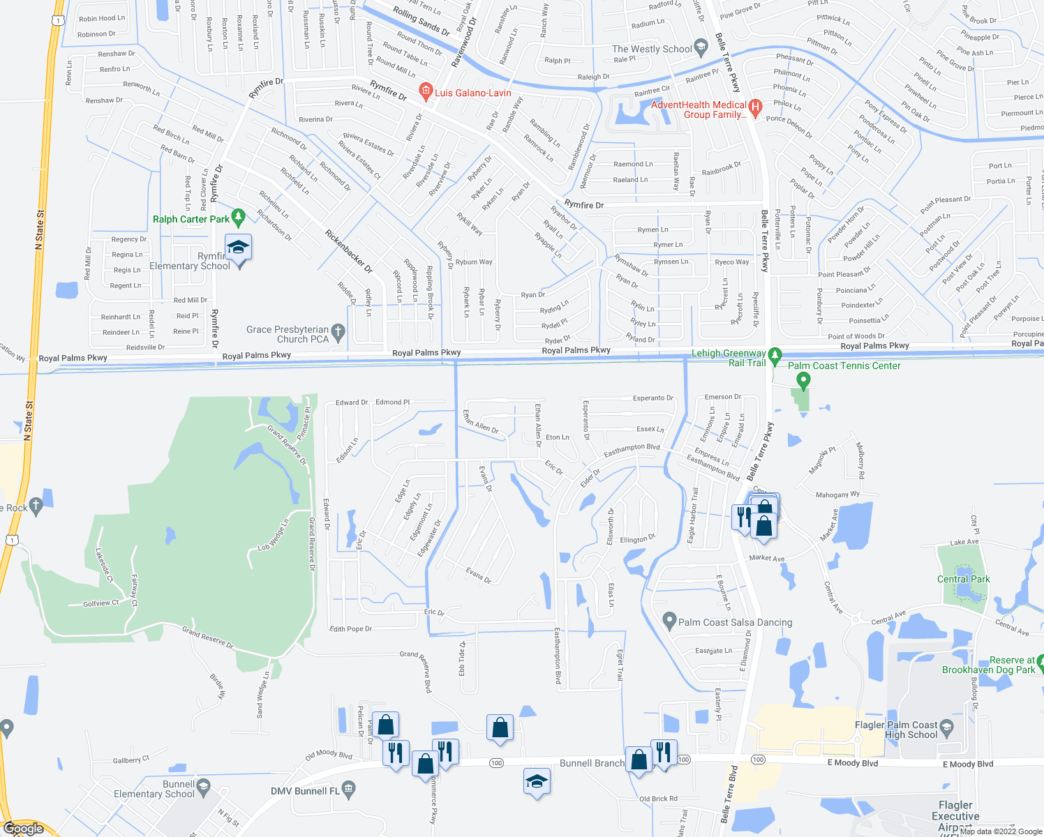 map of restaurants, bars, coffee shops, grocery stores, and more near 7 Ethel Ln in Palm Coast