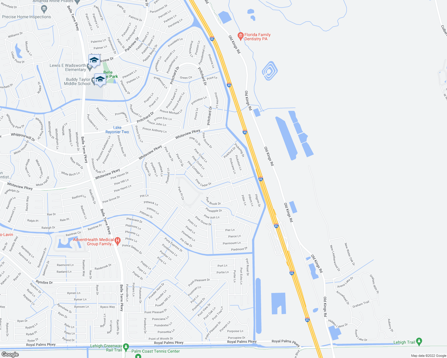 map of restaurants, bars, coffee shops, grocery stores, and more near 113 Pine Circle Drive in Palm Coast