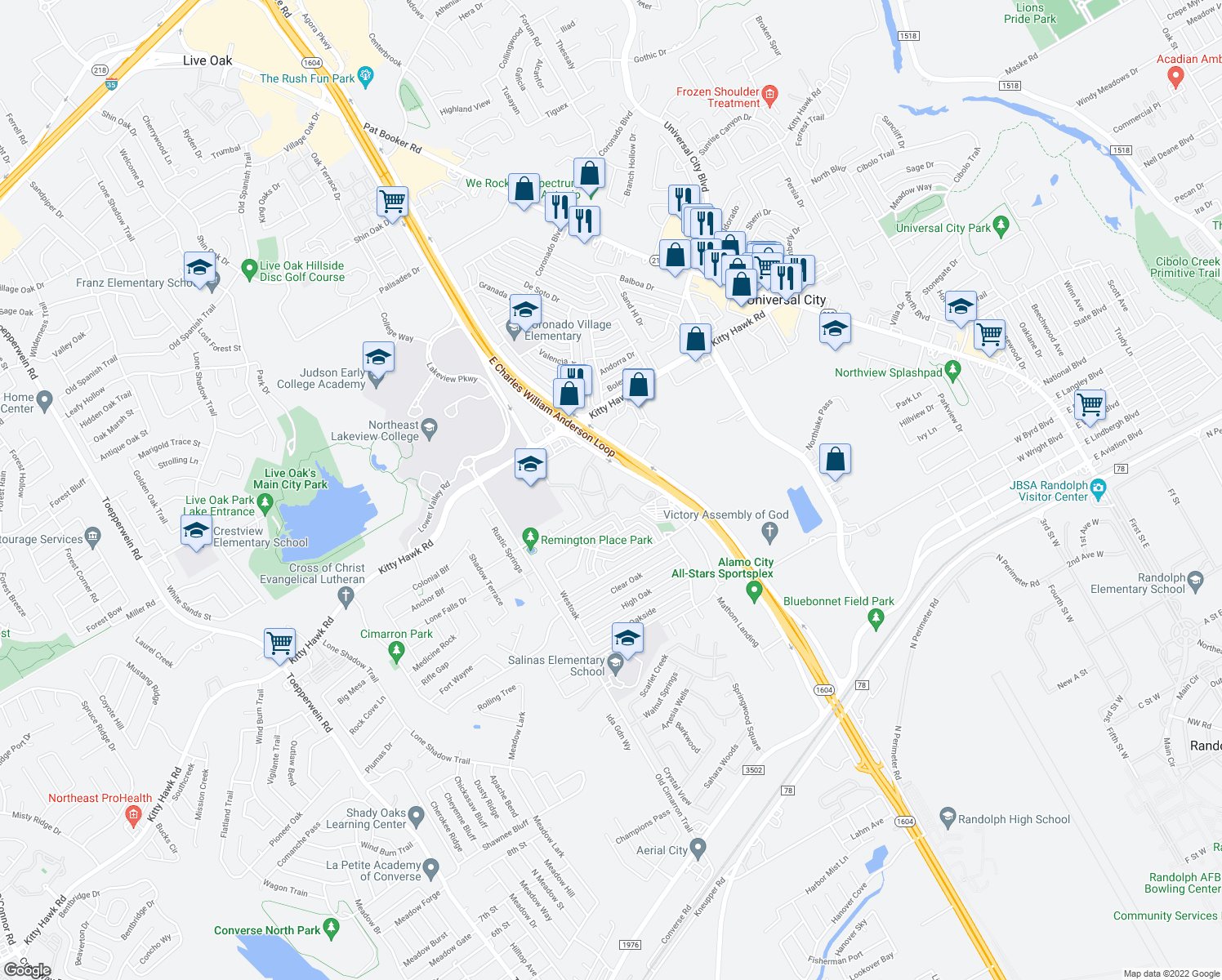 map of restaurants, bars, coffee shops, grocery stores, and more near 11801 E Loop 1604 N in Universal City
