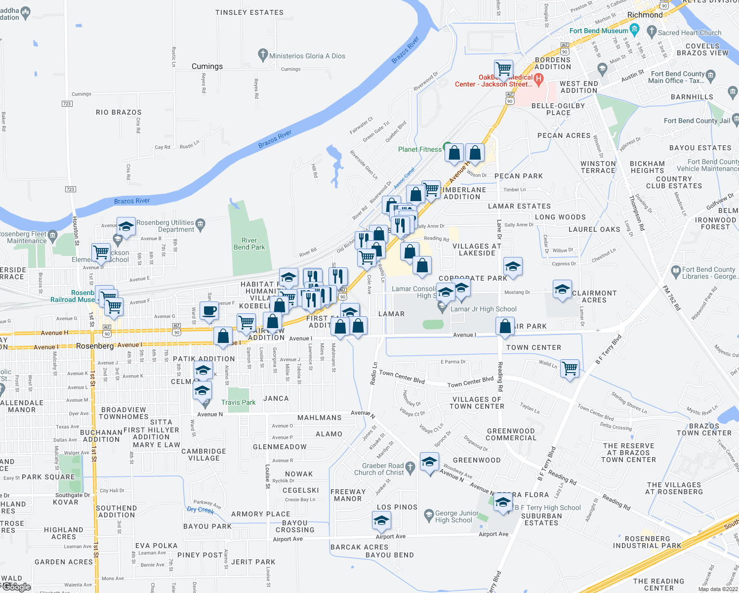 map of restaurants, bars, coffee shops, grocery stores, and more near 1000-1004 Radio Lane in Rosenberg
