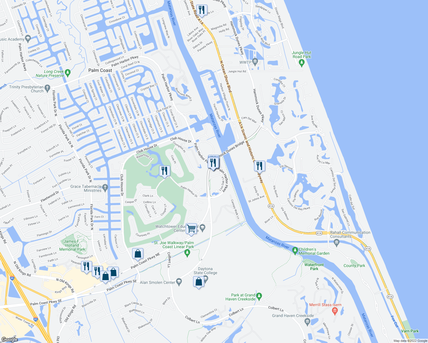 map of restaurants, bars, coffee shops, grocery stores, and more near Sentry Oak Place in Palm Coast
