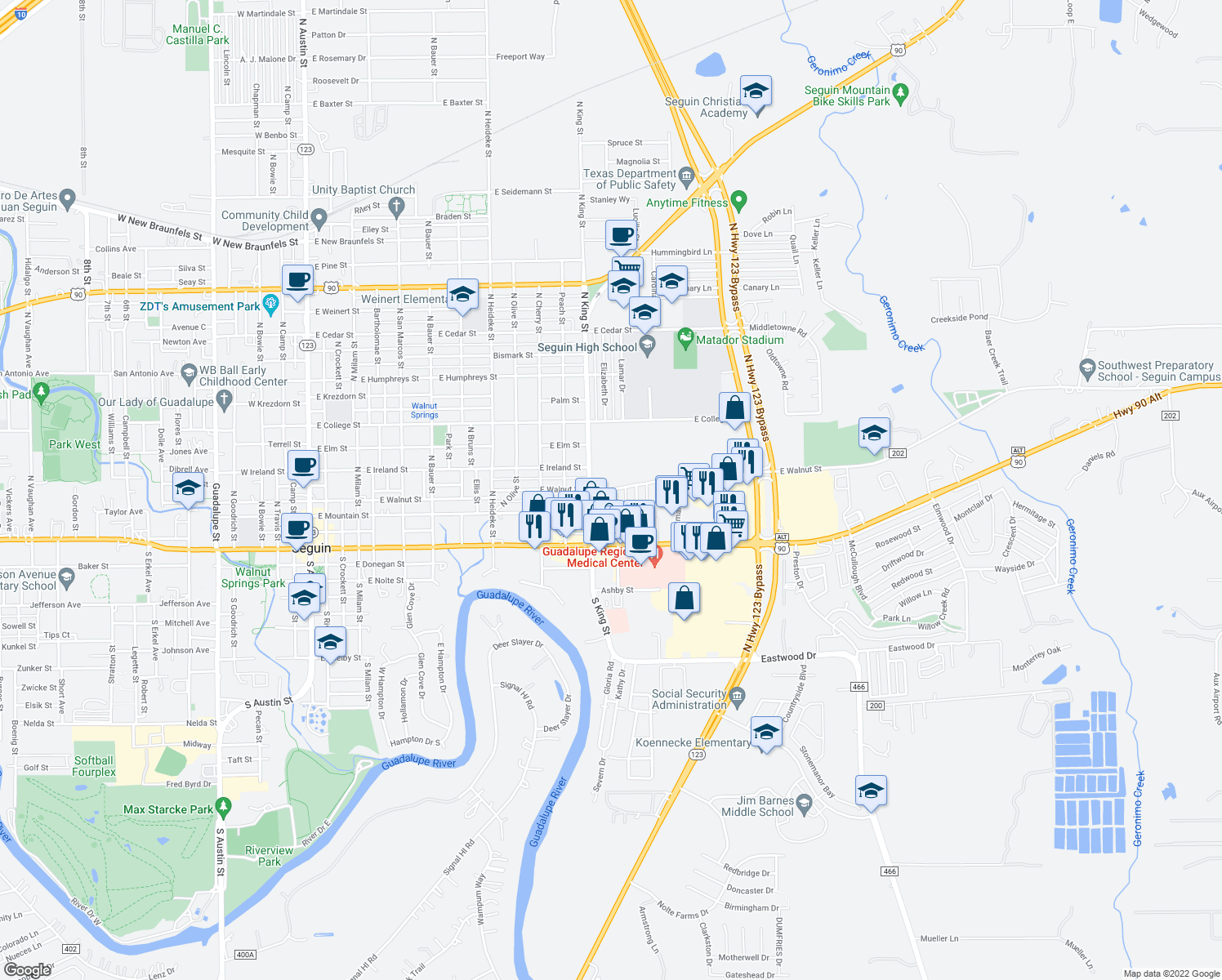 map of restaurants, bars, coffee shops, grocery stores, and more near 307 N Moss St in Seguin