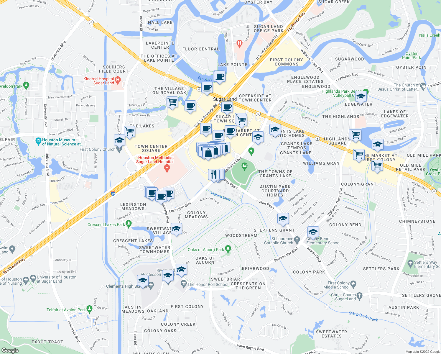 map of restaurants, bars, coffee shops, grocery stores, and more near 16500-16592 Lexington Blvd in Sugar Land