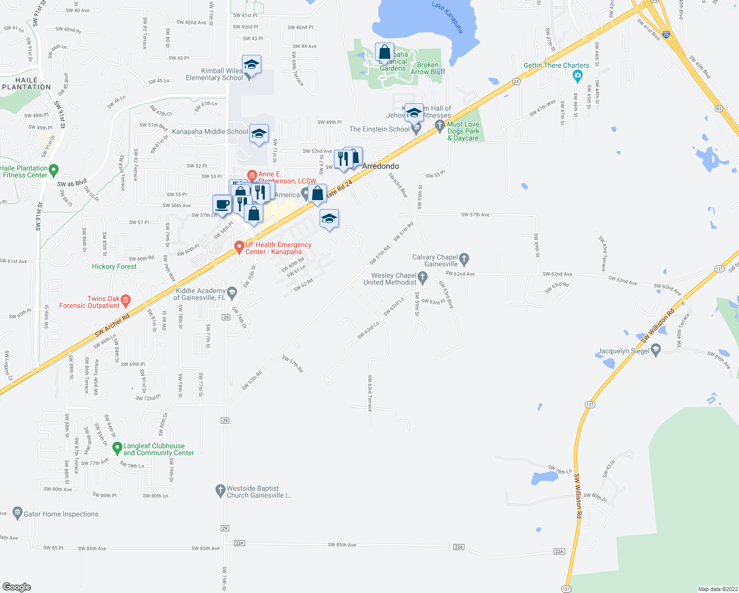 map of restaurants, bars, coffee shops, grocery stores, and more near 5809-5999 Southwest 63rd Lane in Gainesville