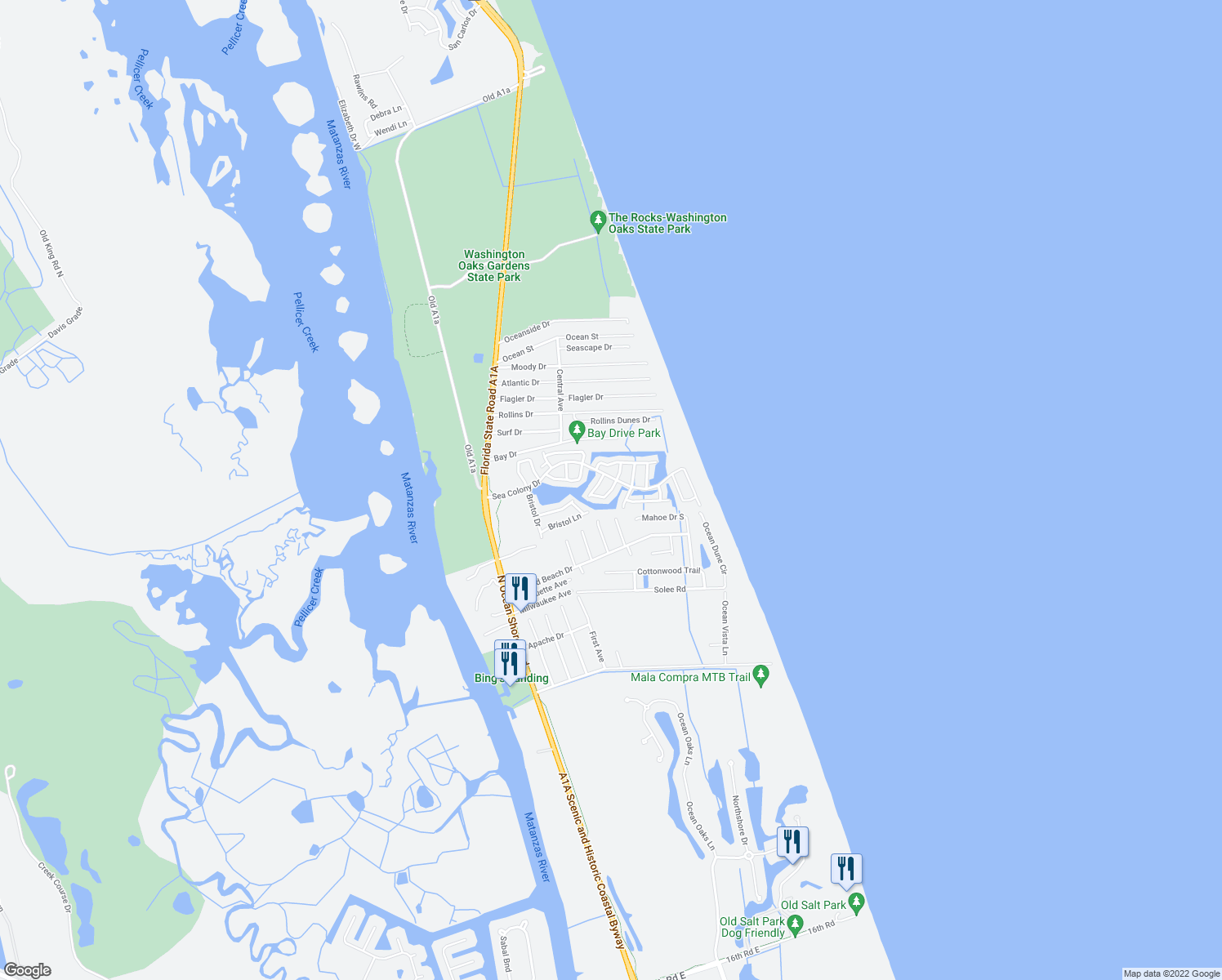 map of restaurants, bars, coffee shops, grocery stores, and more near 4 Nantucket Terrace in Palm Coast