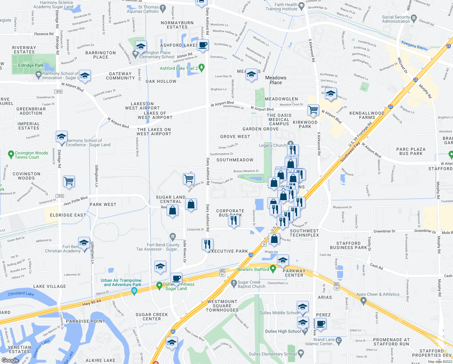 map of restaurants, bars, coffee shops, grocery stores, and more near 12468-12538 Executive Drive in Stafford