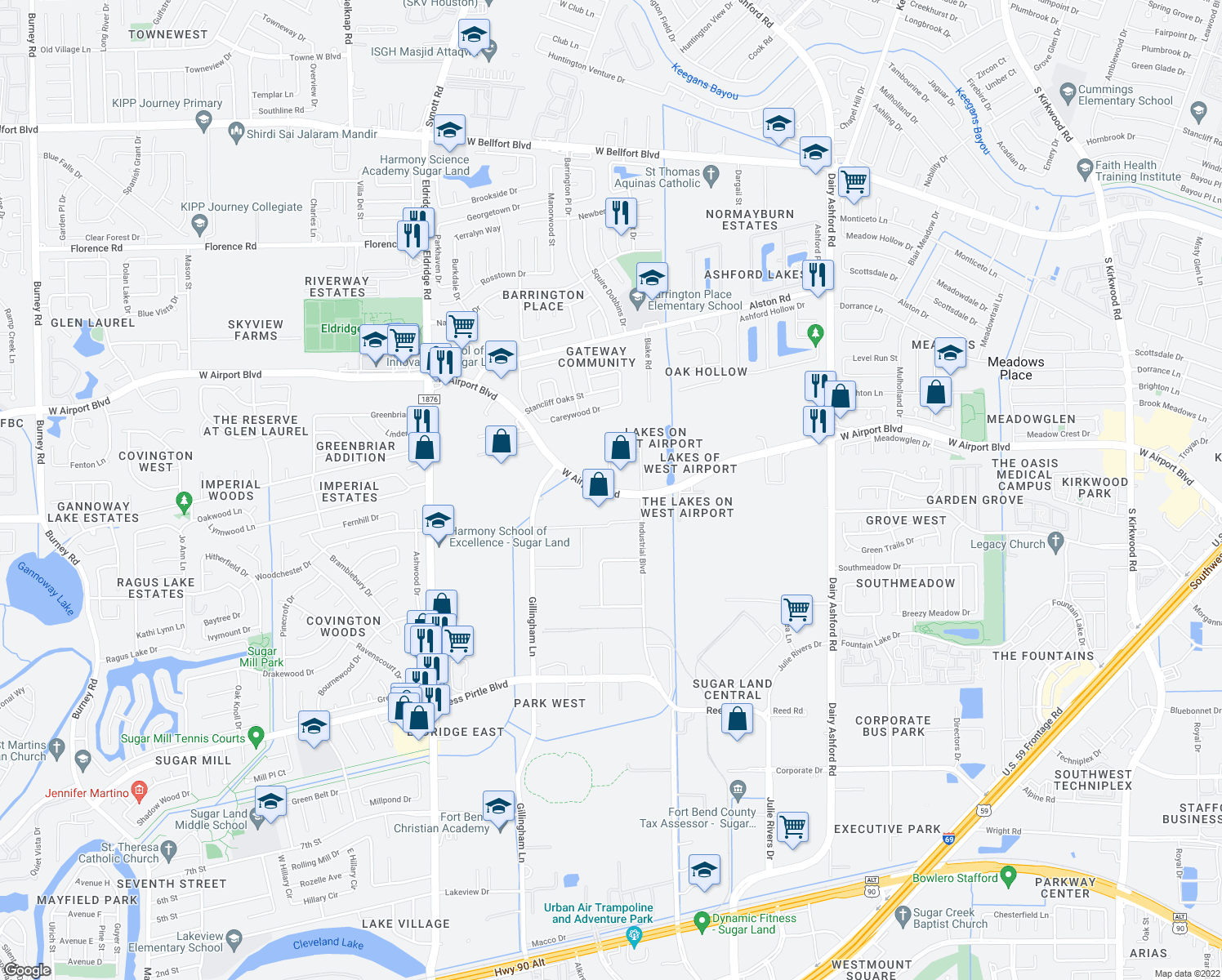 map of restaurants, bars, coffee shops, grocery stores, and more near 15000 W Airport Blvd in Sugar Land