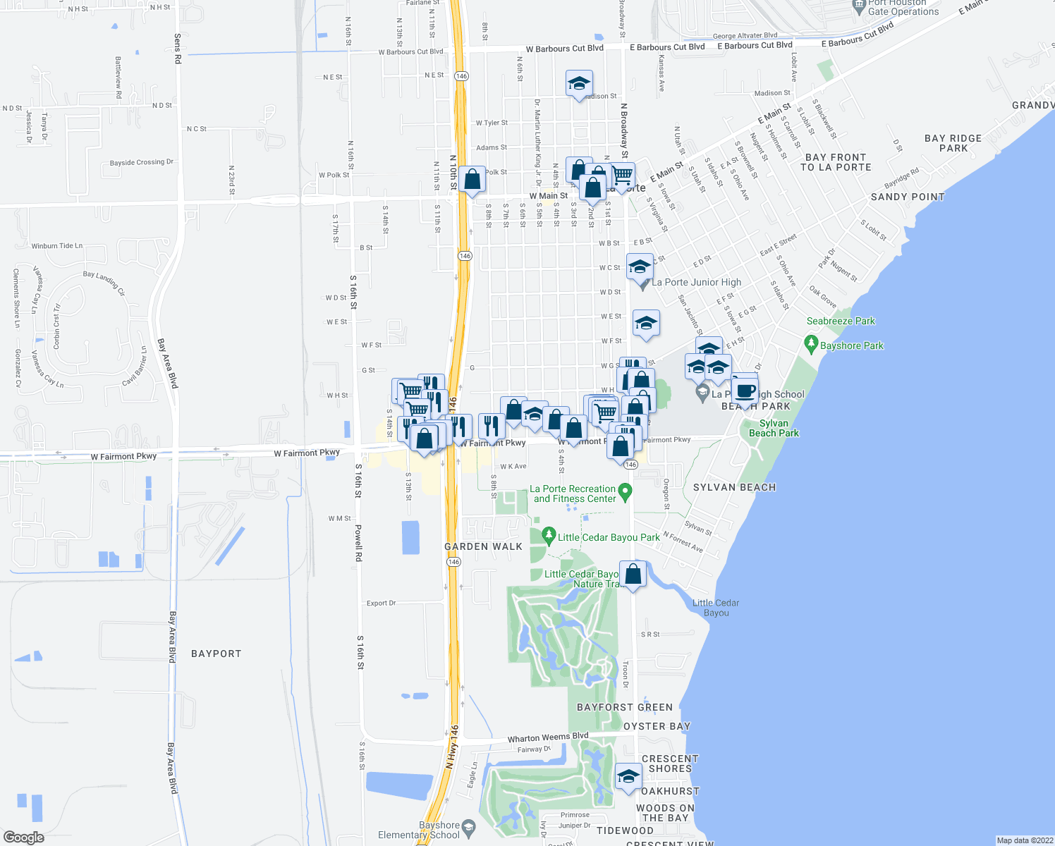 map of restaurants, bars, coffee shops, grocery stores, and more near West I Street in La Porte