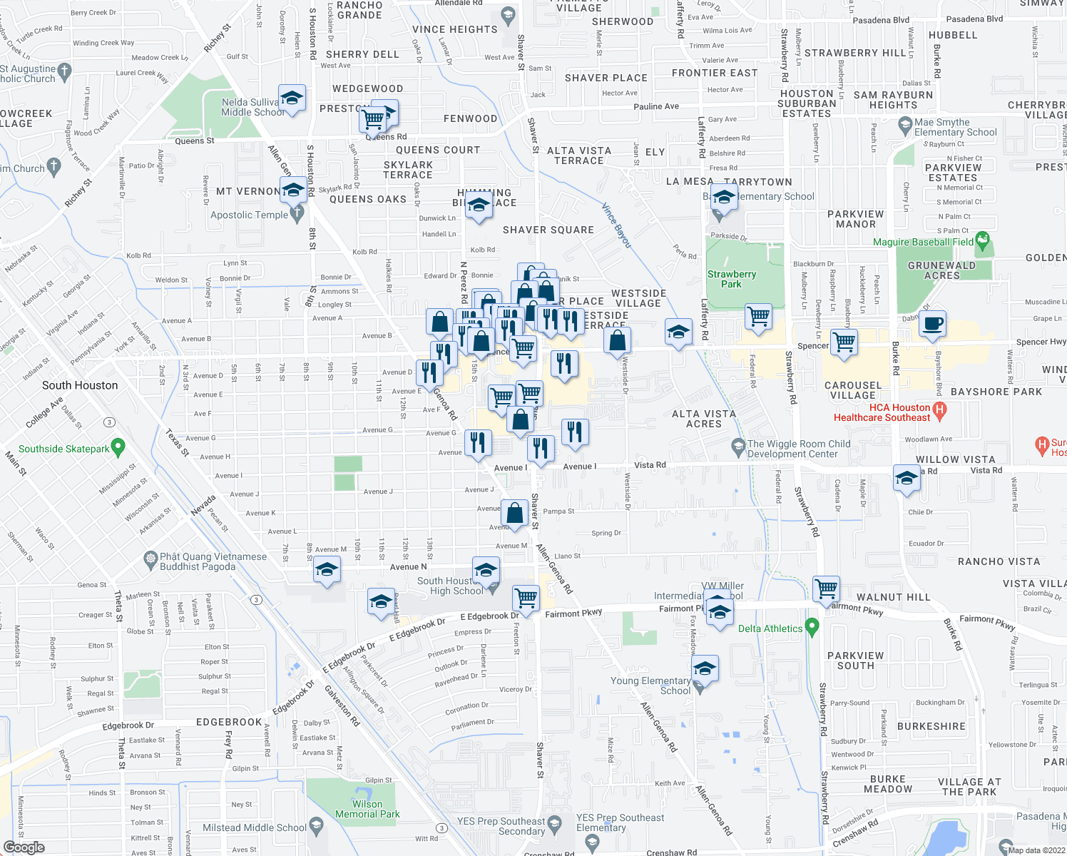 map of restaurants, bars, coffee shops, grocery stores, and more near 3349-3377 S Shaver St in Pasadena