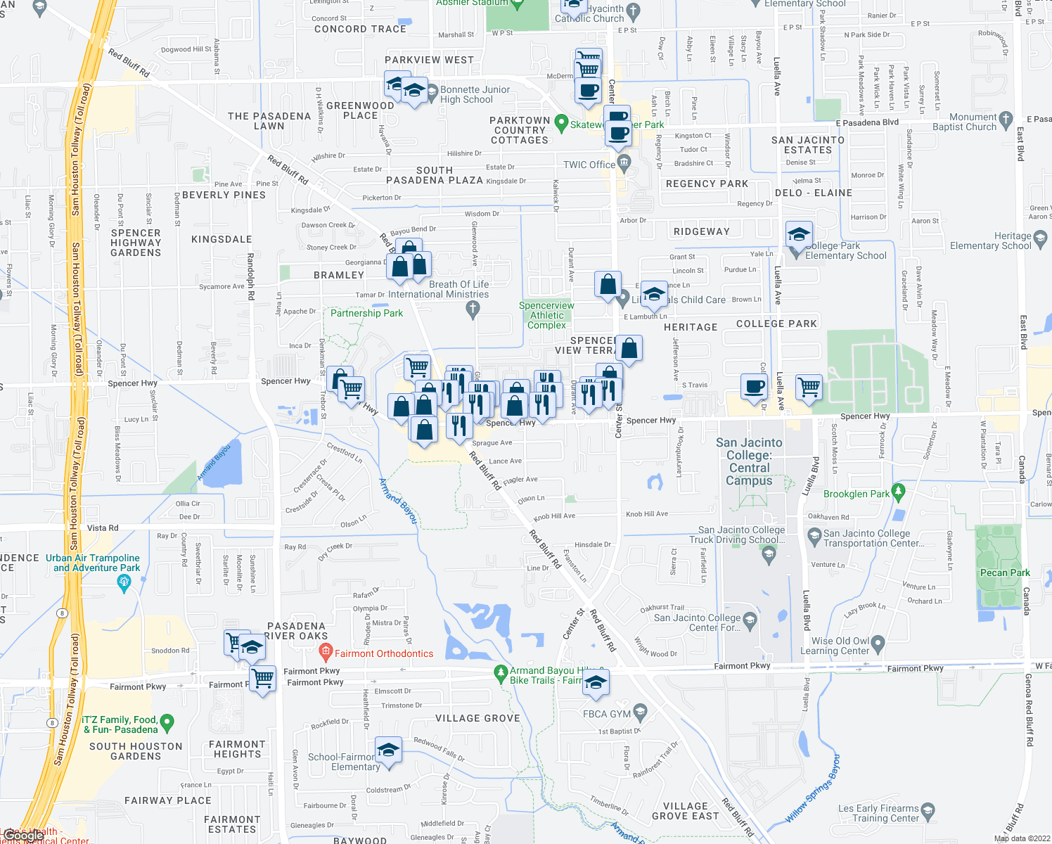 map of restaurants, bars, coffee shops, grocery stores, and more near 7201-7249 Spencer Highway in Pasadena