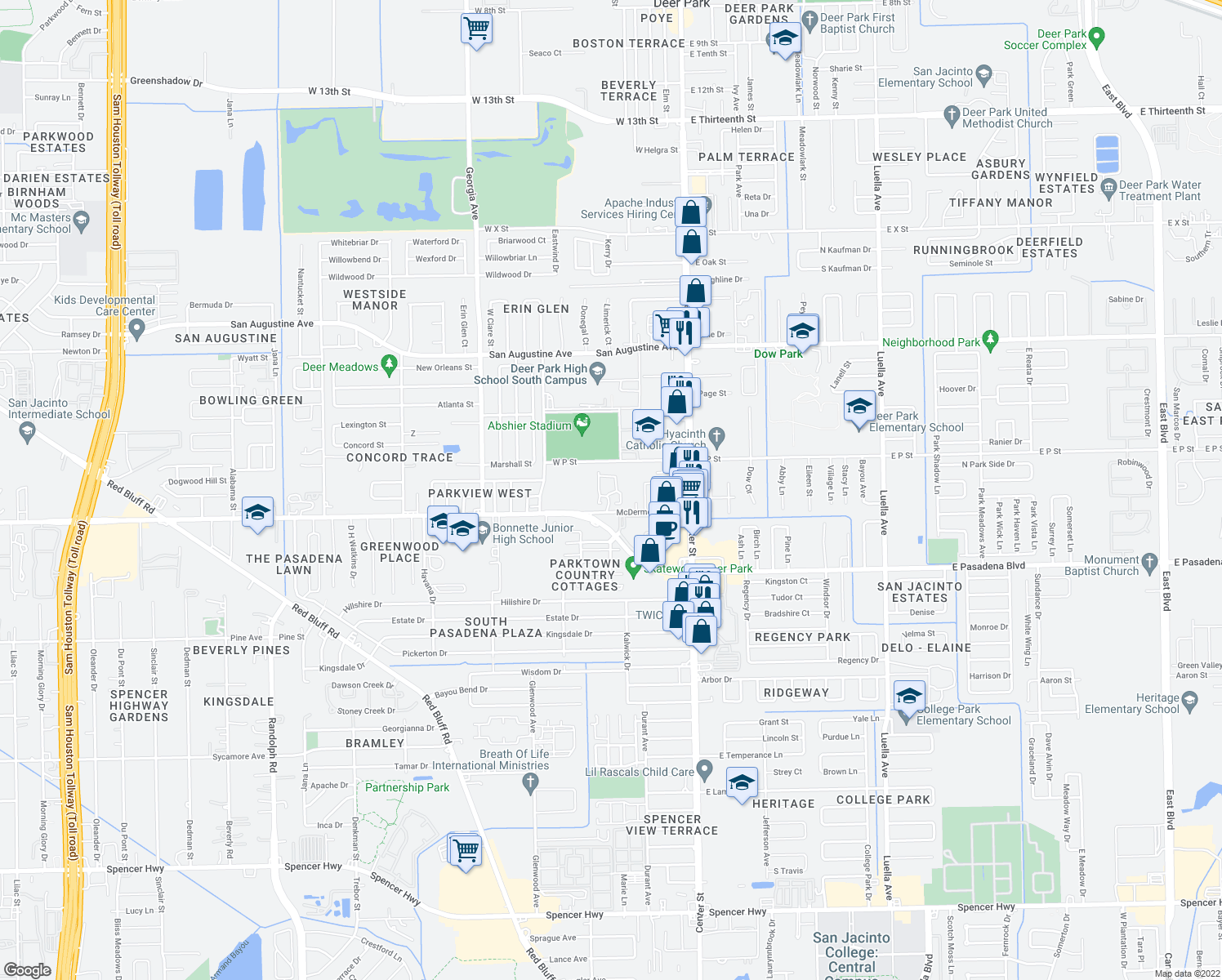 map of restaurants, bars, coffee shops, grocery stores, and more near 310 West P Street in Deer Park
