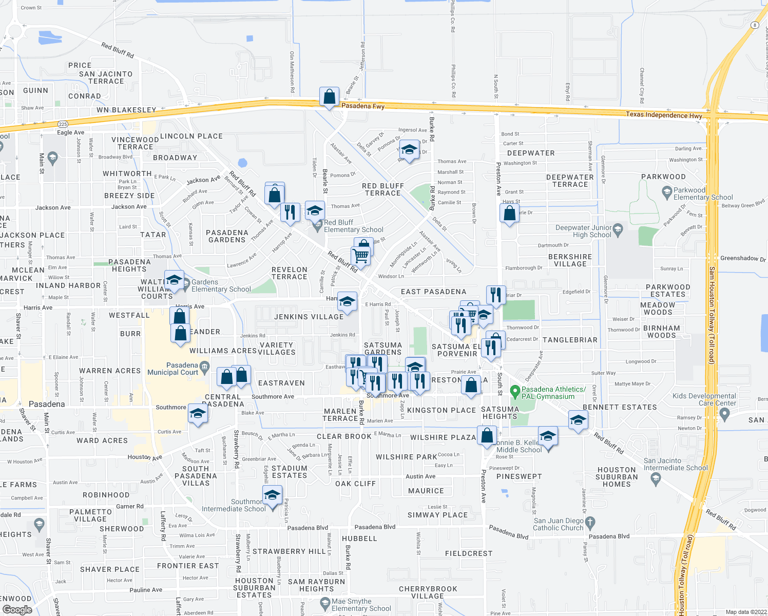 map of restaurants, bars, coffee shops, grocery stores, and more near 2216 E Harris Rd in Pasadena