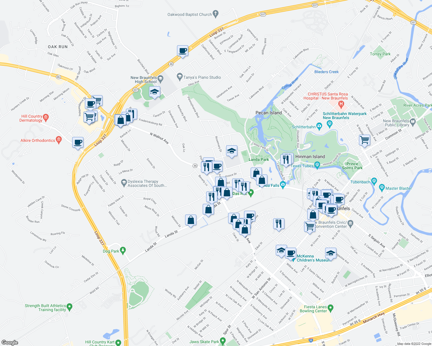 map of restaurants, bars, coffee shops, grocery stores, and more near 615 Lockener Avenue in New Braunfels