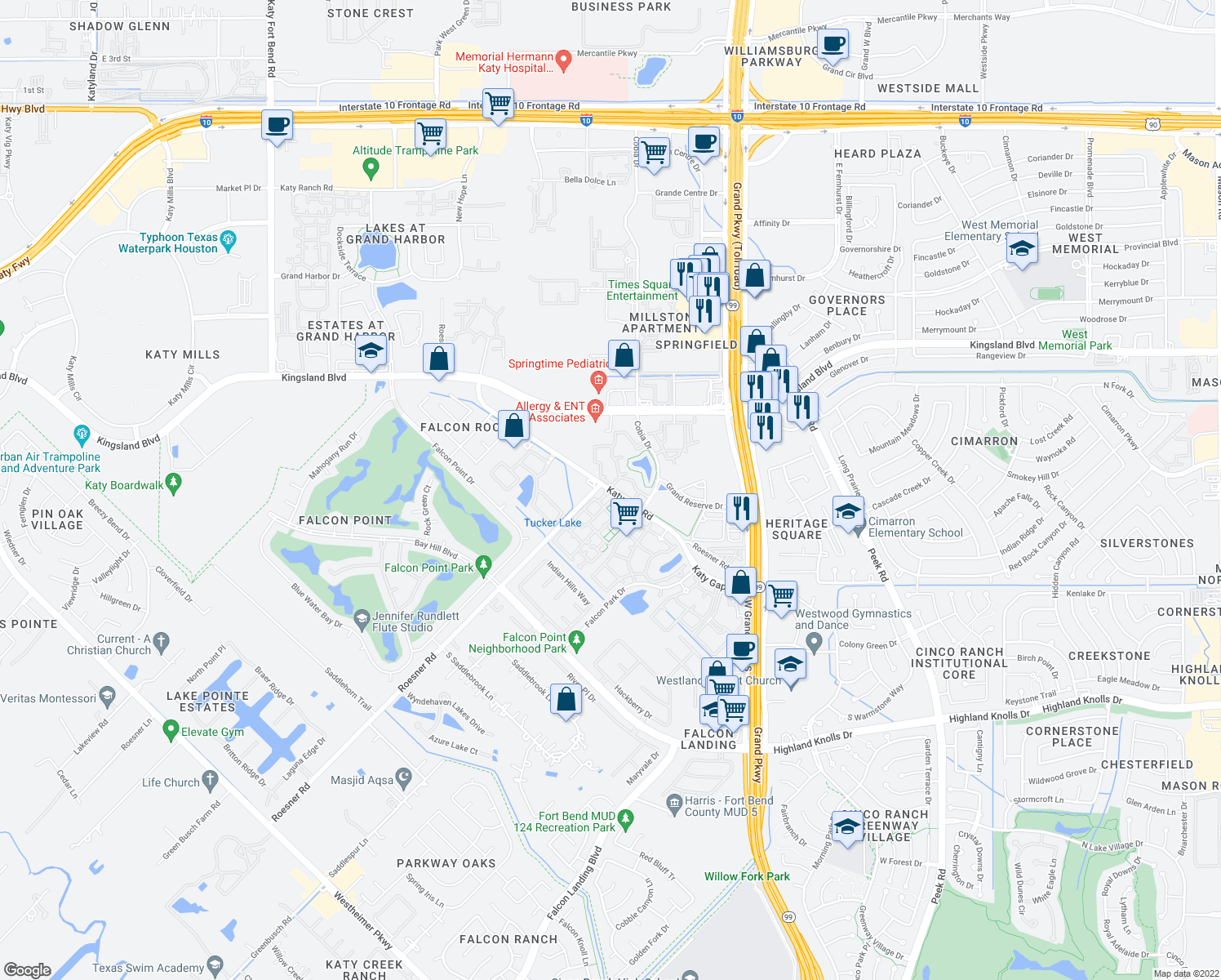 map of restaurants, bars, coffee shops, grocery stores, and more near 1550 Katy Gap Road in Katy