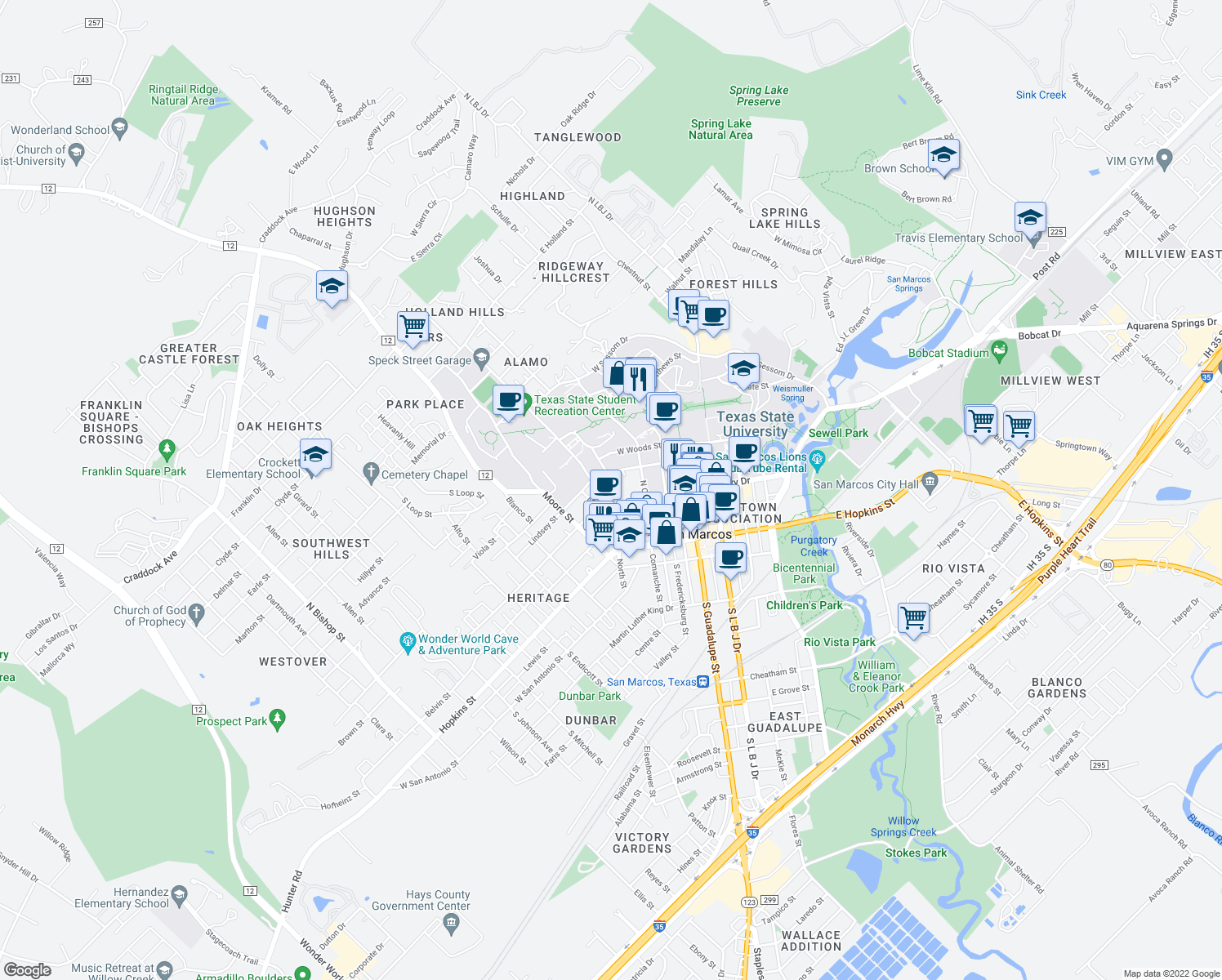 map of restaurants, bars, coffee shops, grocery stores, and more near 323 Lindsey Street in San Marcos