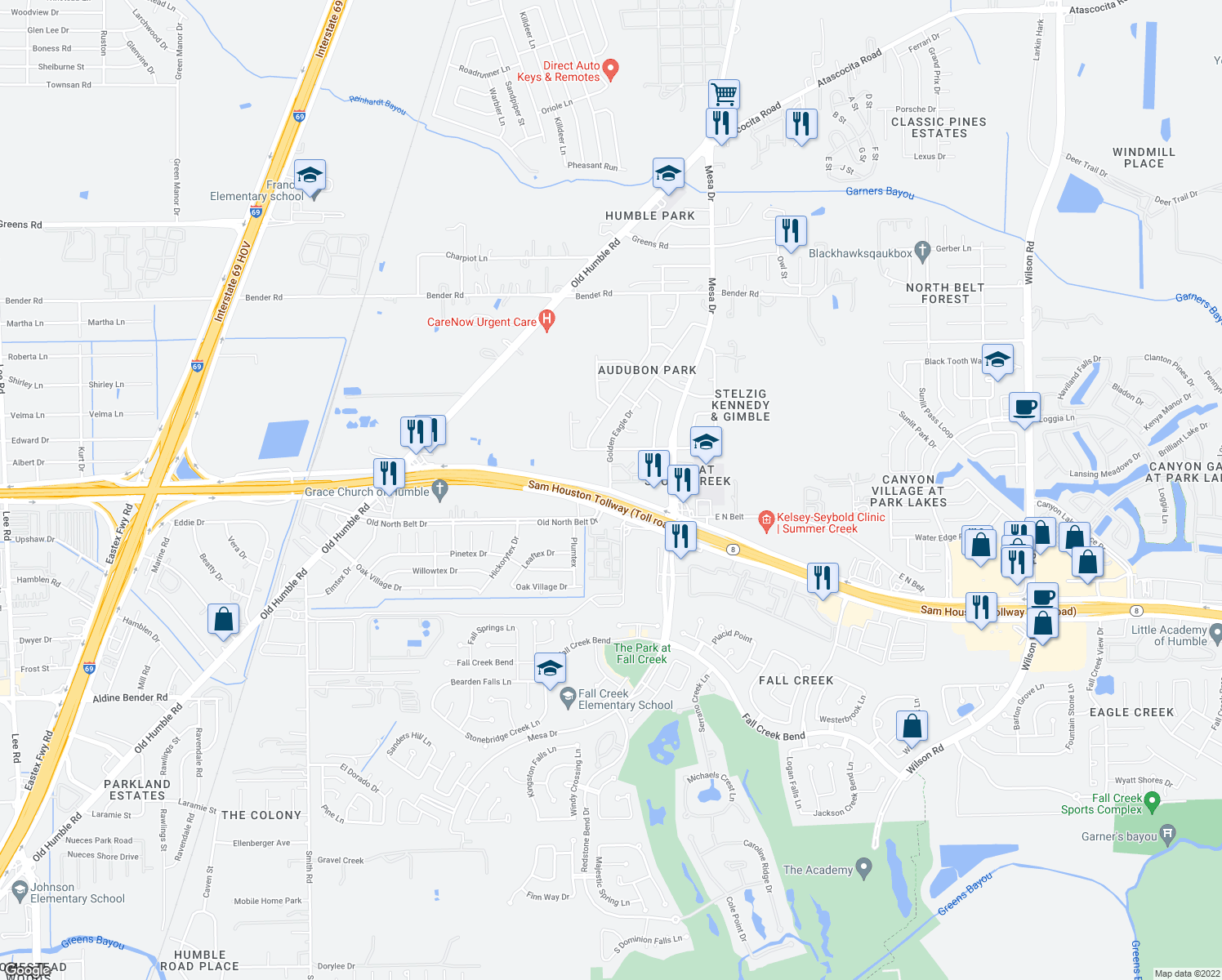 map of restaurants, bars, coffee shops, grocery stores, and more near 7815 North Sam Houston Pkwy E in Humble