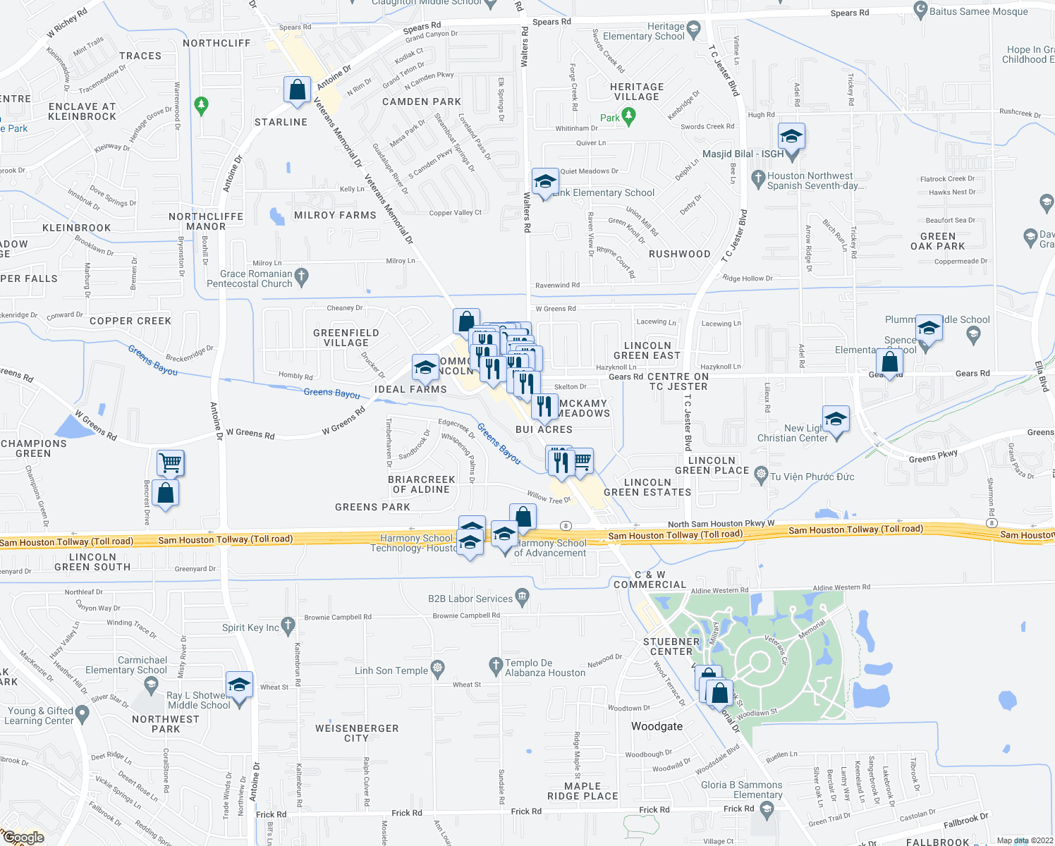 map of restaurants, bars, coffee shops, grocery stores, and more near None in Harris County