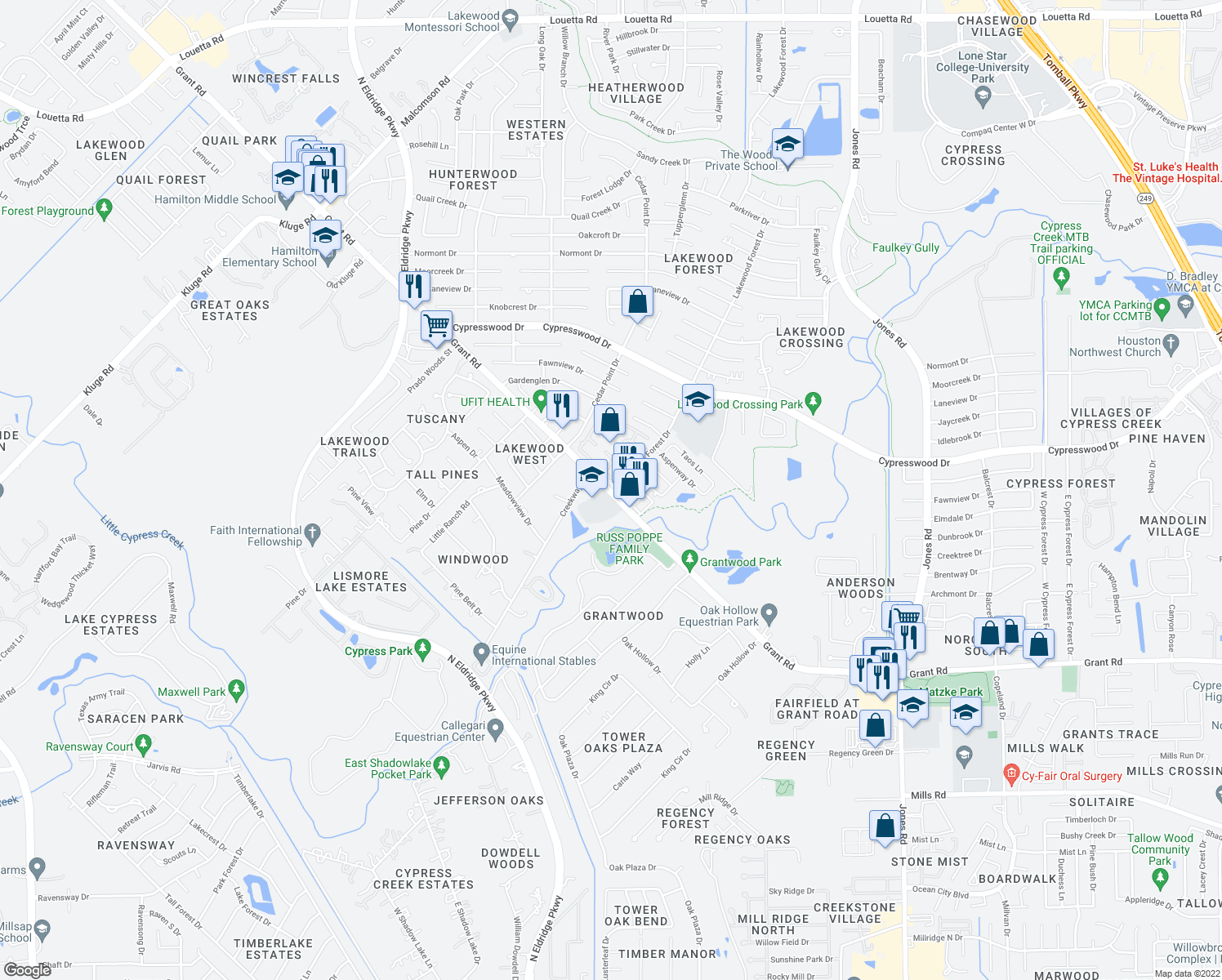 map of restaurants, bars, coffee shops, grocery stores, and more near Lakewood Forest Drive in Cypress