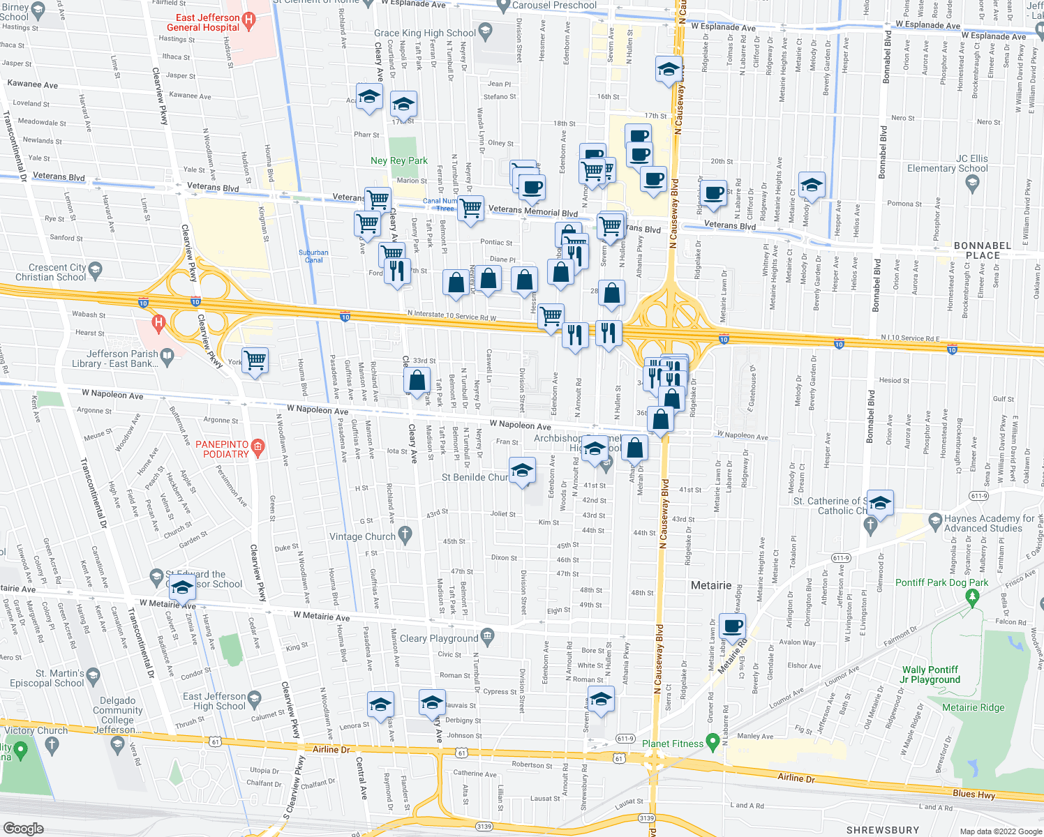 map of restaurants, bars, coffee shops, grocery stores, and more near 3716 West Napoleon Avenue in Metairie