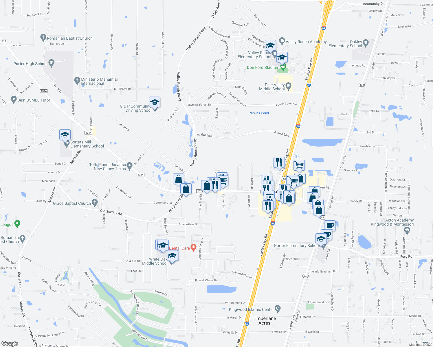 map of restaurants, bars, coffee shops, grocery stores, and more near 23505-23699 Partners Way in Porter