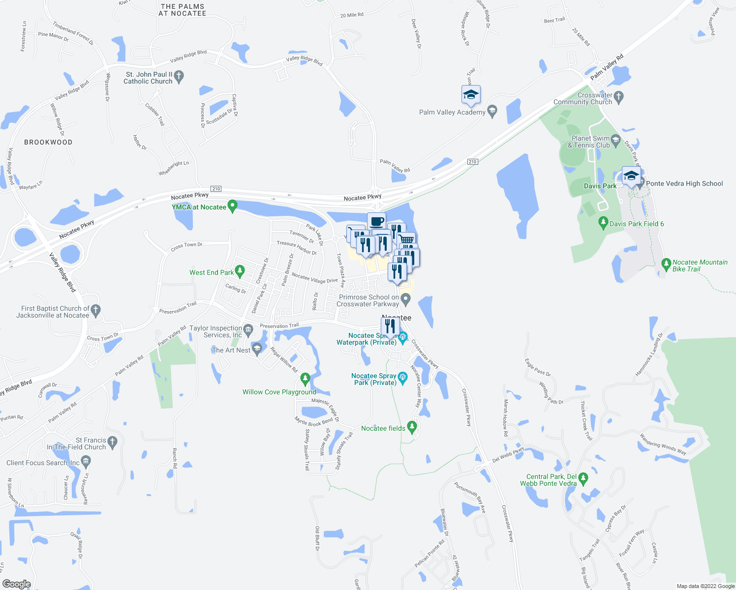 map of restaurants, bars, coffee shops, grocery stores, and more near Nocatee Village Drive in Ponte Vedra