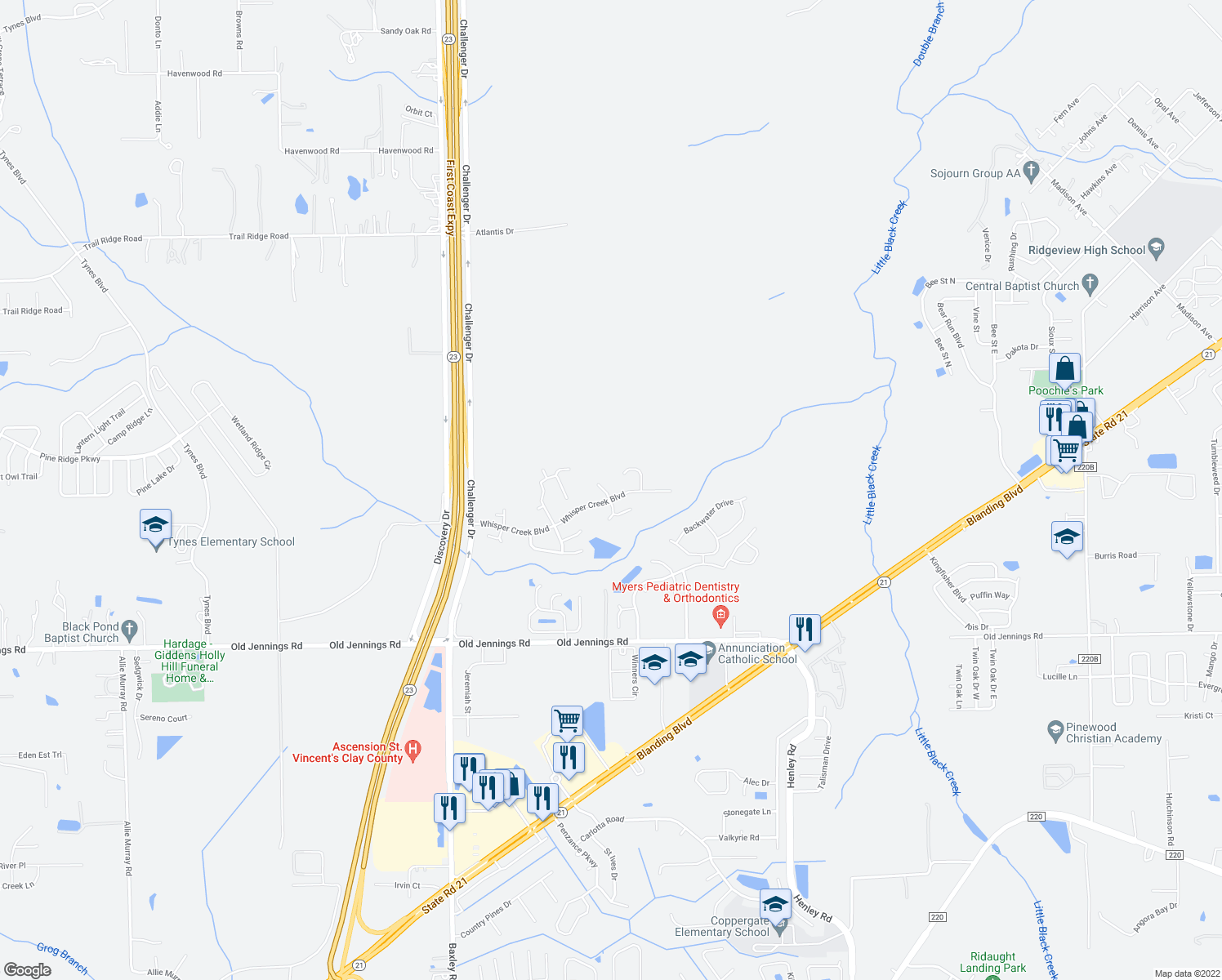map of restaurants, bars, coffee shops, grocery stores, and more near 3548 Whisper Creek Boulevard in Middleburg