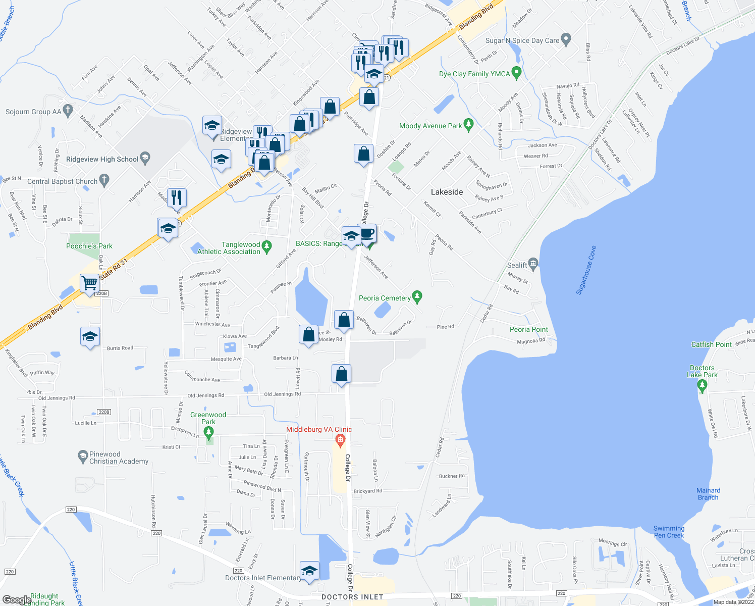map of restaurants, bars, coffee shops, grocery stores, and more near 1721 Loch Leven Court in Orange Park