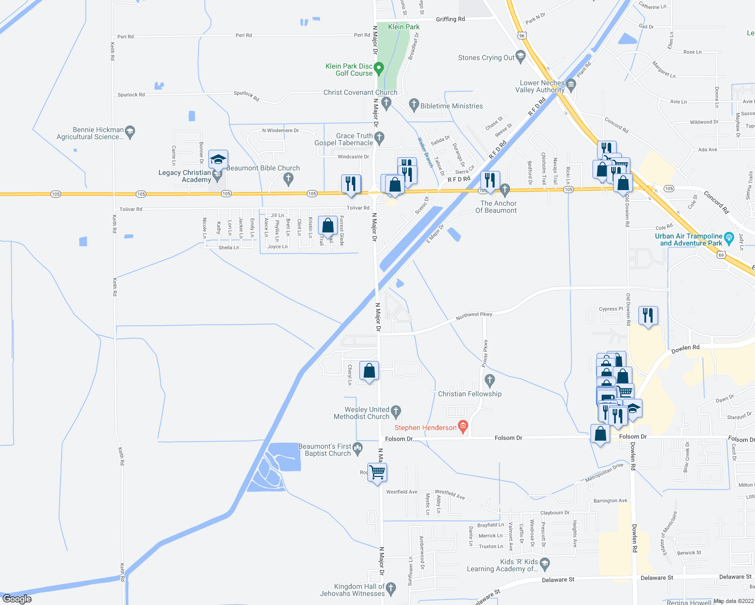 map of restaurants, bars, coffee shops, grocery stores, and more near 4565 North Major Drive in Beaumont