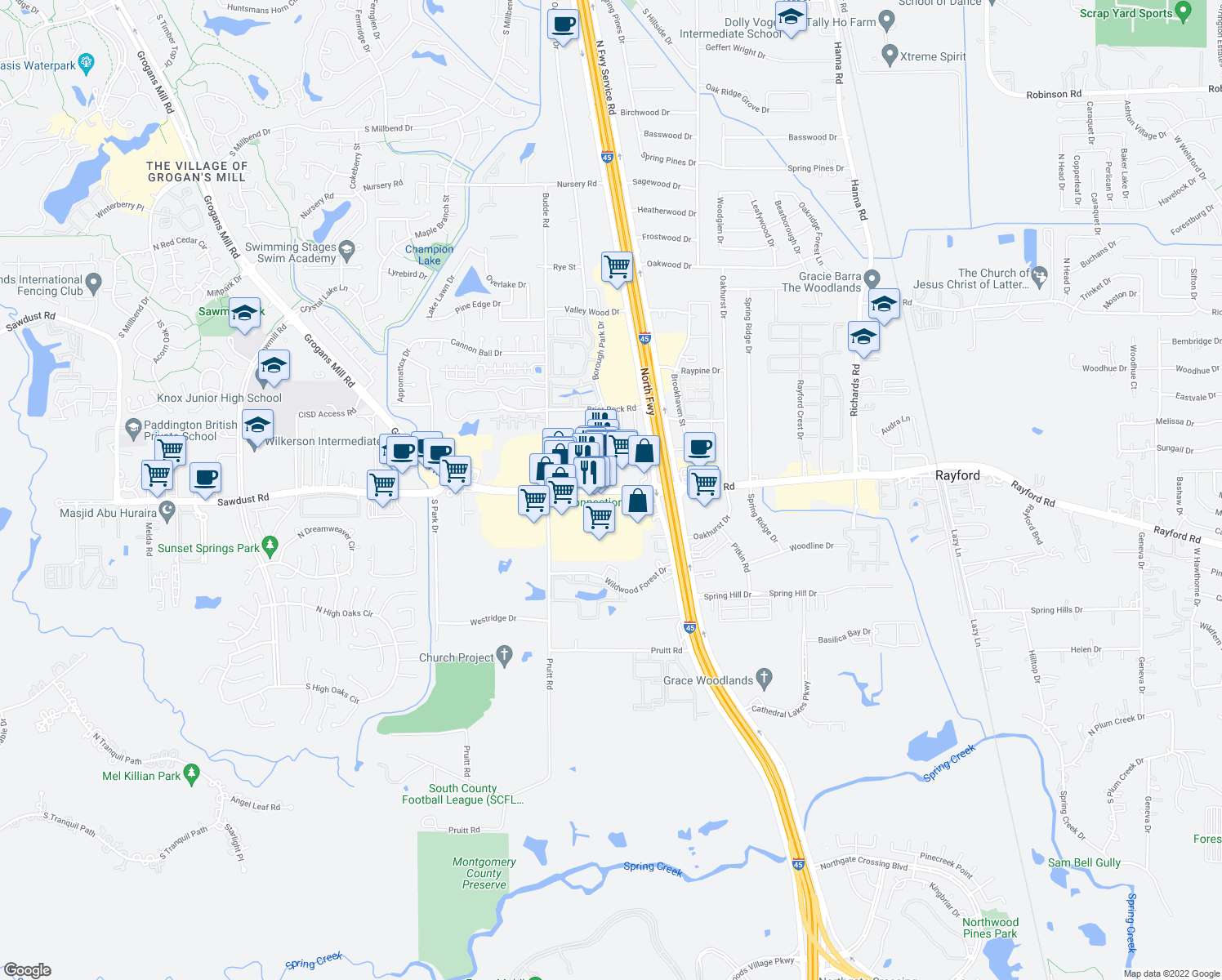 map of restaurants, bars, coffee shops, grocery stores, and more near 202 Sawdust Road in Spring