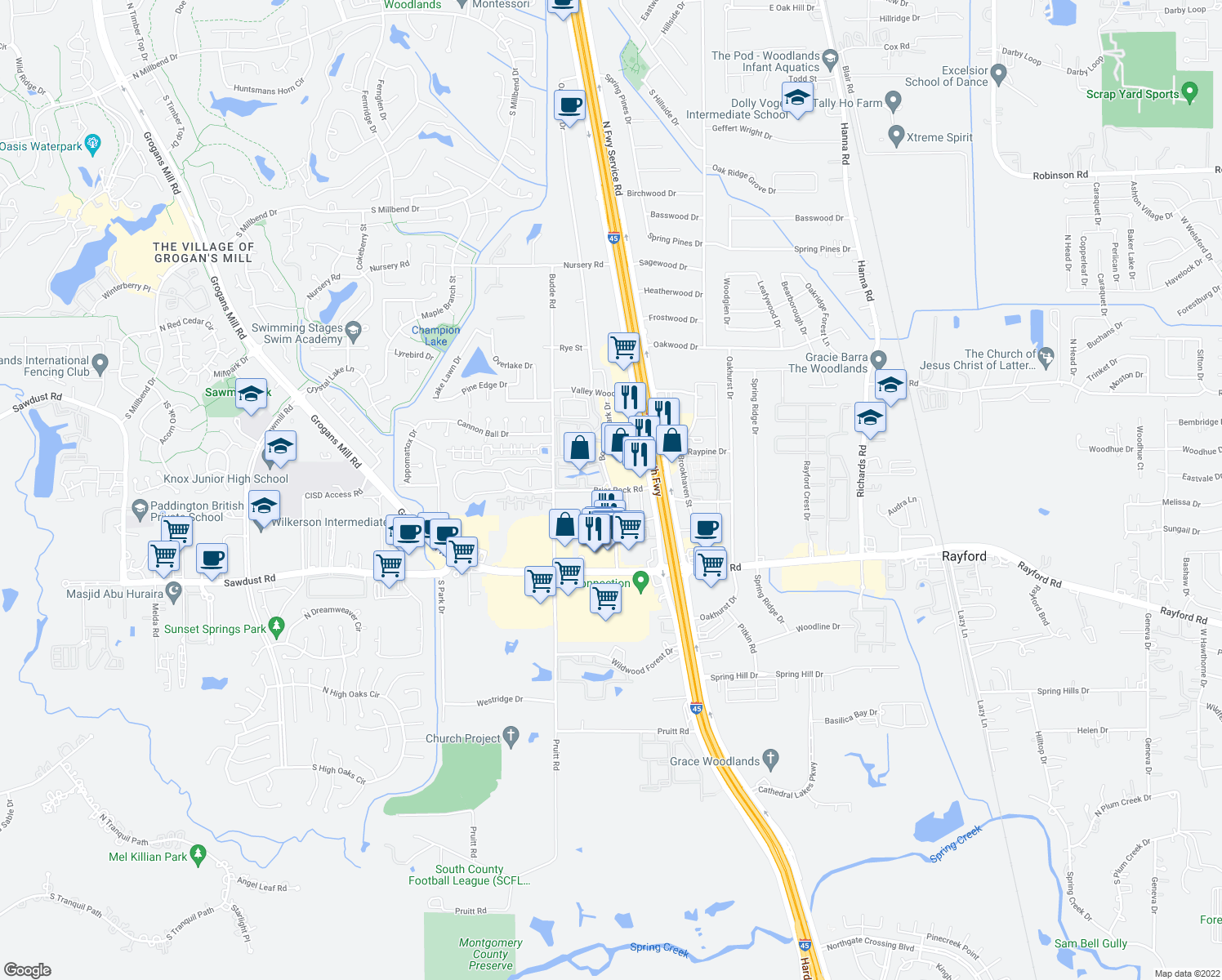 map of restaurants, bars, coffee shops, grocery stores, and more near Borough Park Dr & Briar Rock Rd in Spring