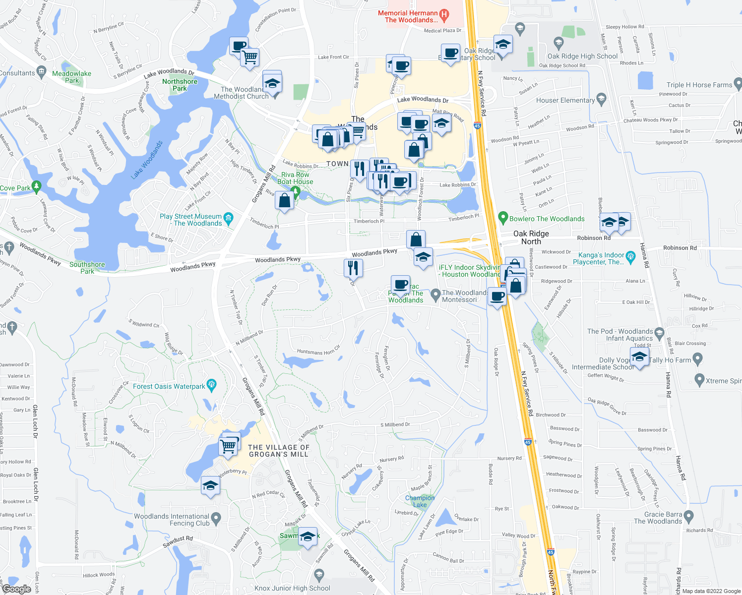 map of restaurants, bars, coffee shops, grocery stores, and more near 10600 Six Pines Drive in Spring