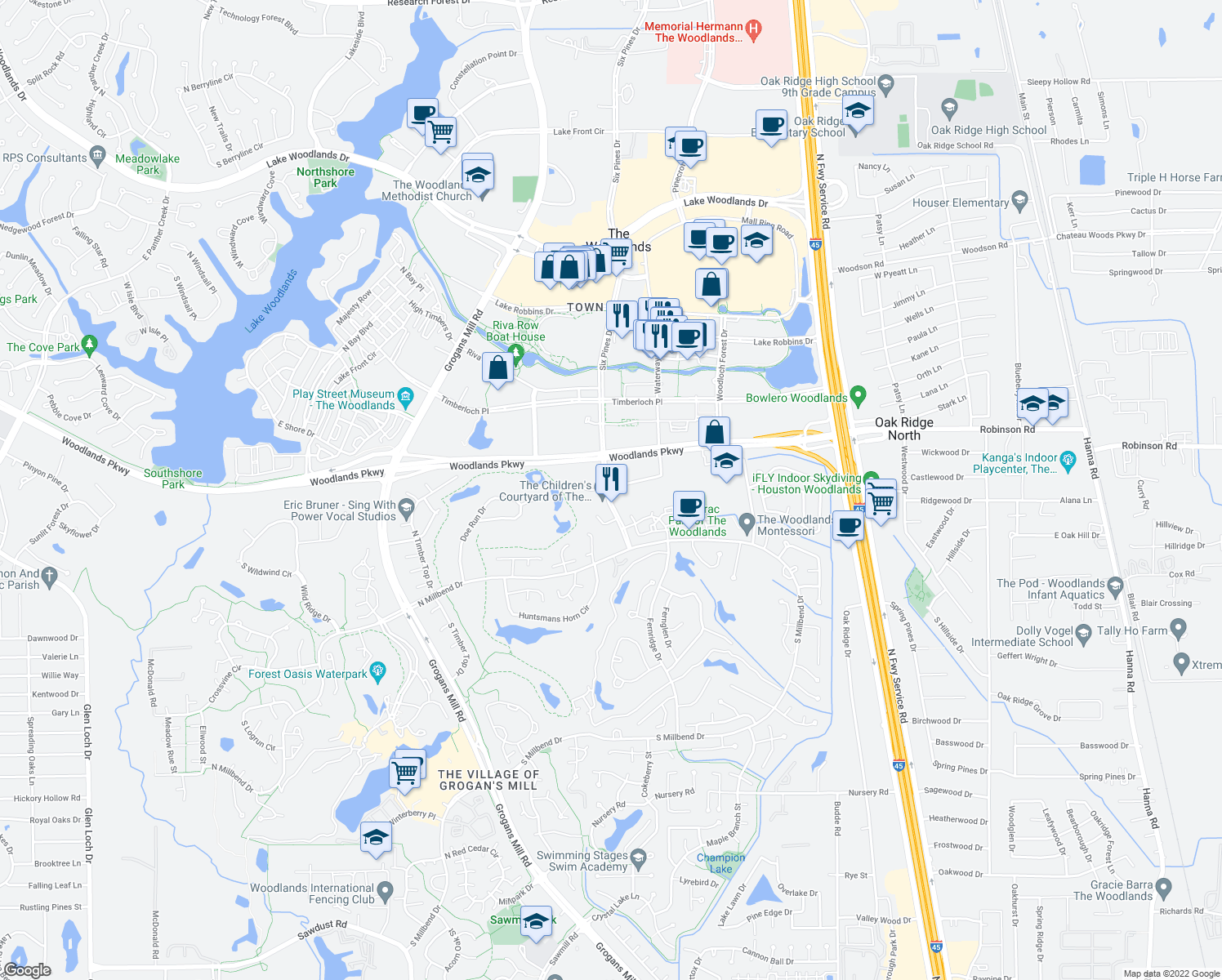 map of restaurants, bars, coffee shops, grocery stores, and more near 1677-1799 Woodstead Court in The Woodlands