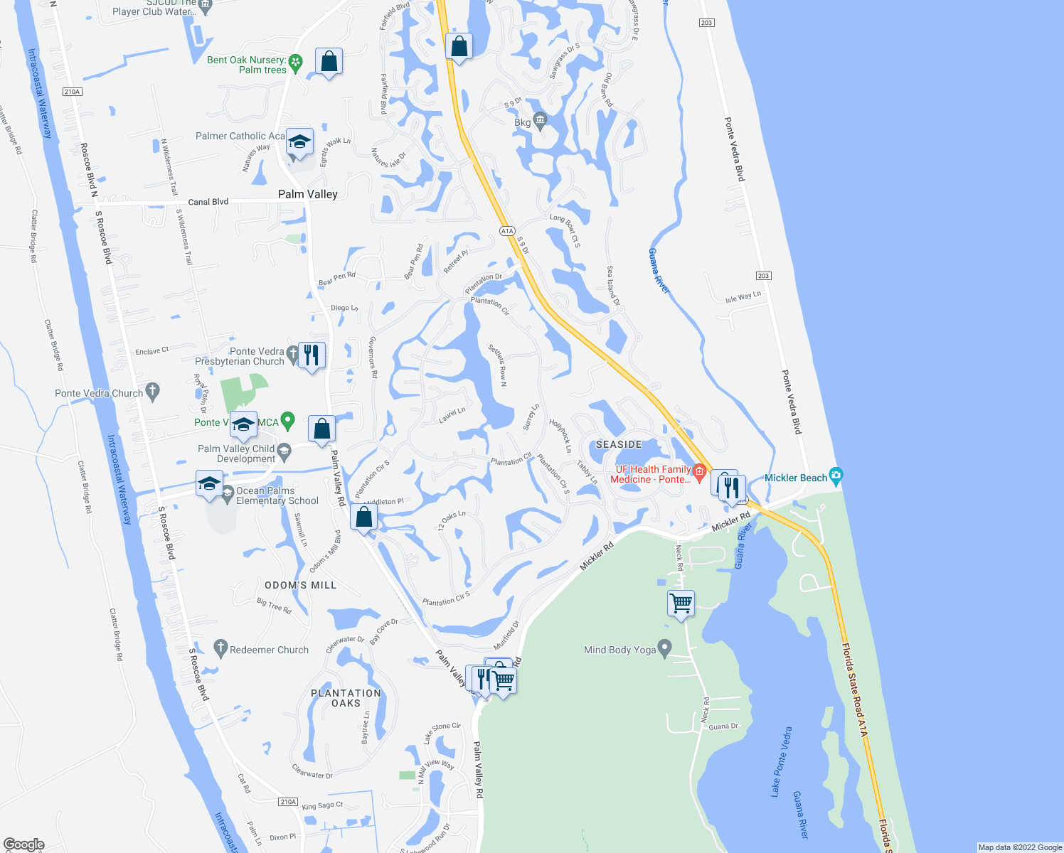 map of restaurants, bars, coffee shops, grocery stores, and more near 111 Surrey Lane in Ponte Vedra