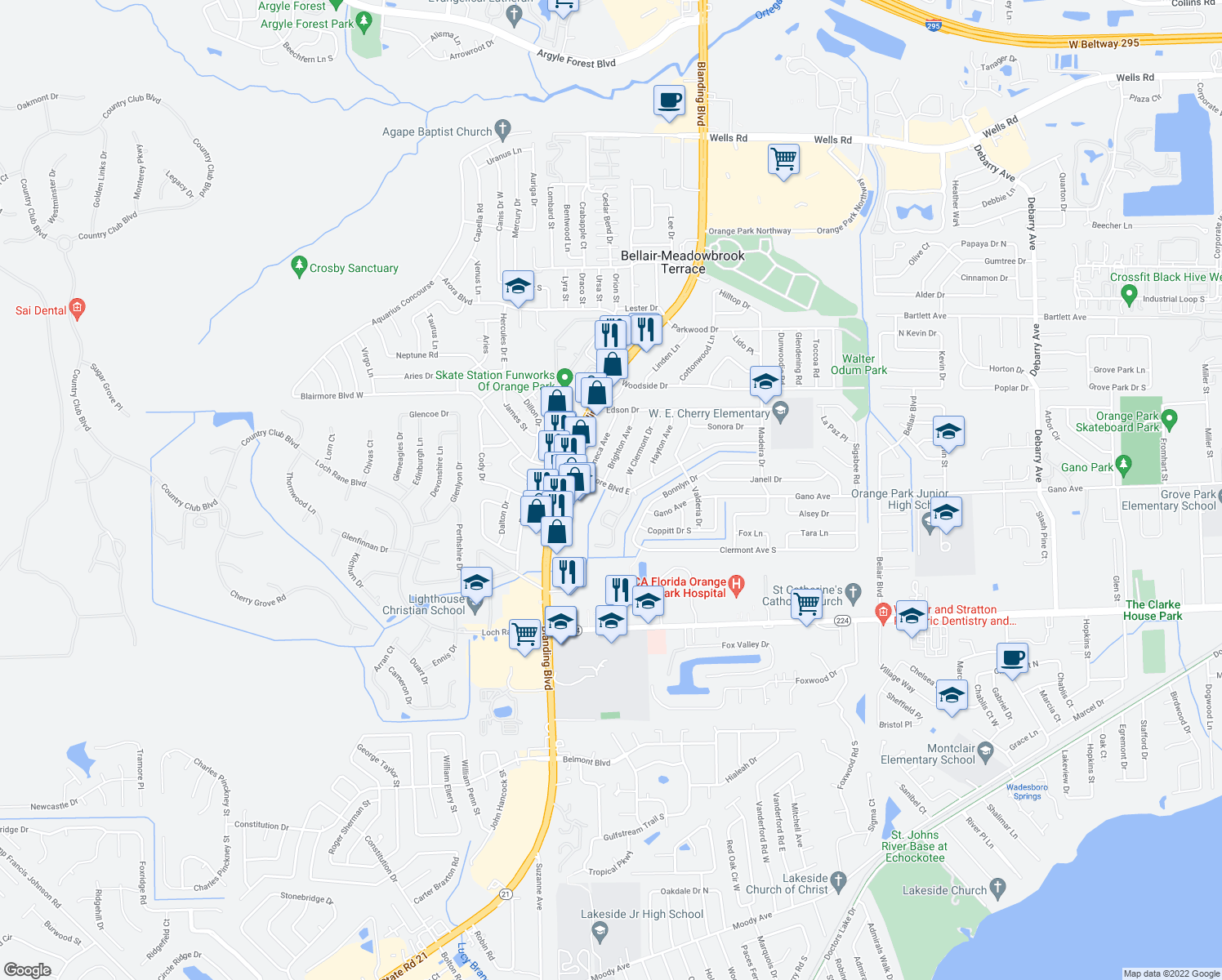 map of restaurants, bars, coffee shops, grocery stores, and more near 212-214 Blairmore Blvd E in Orange Park