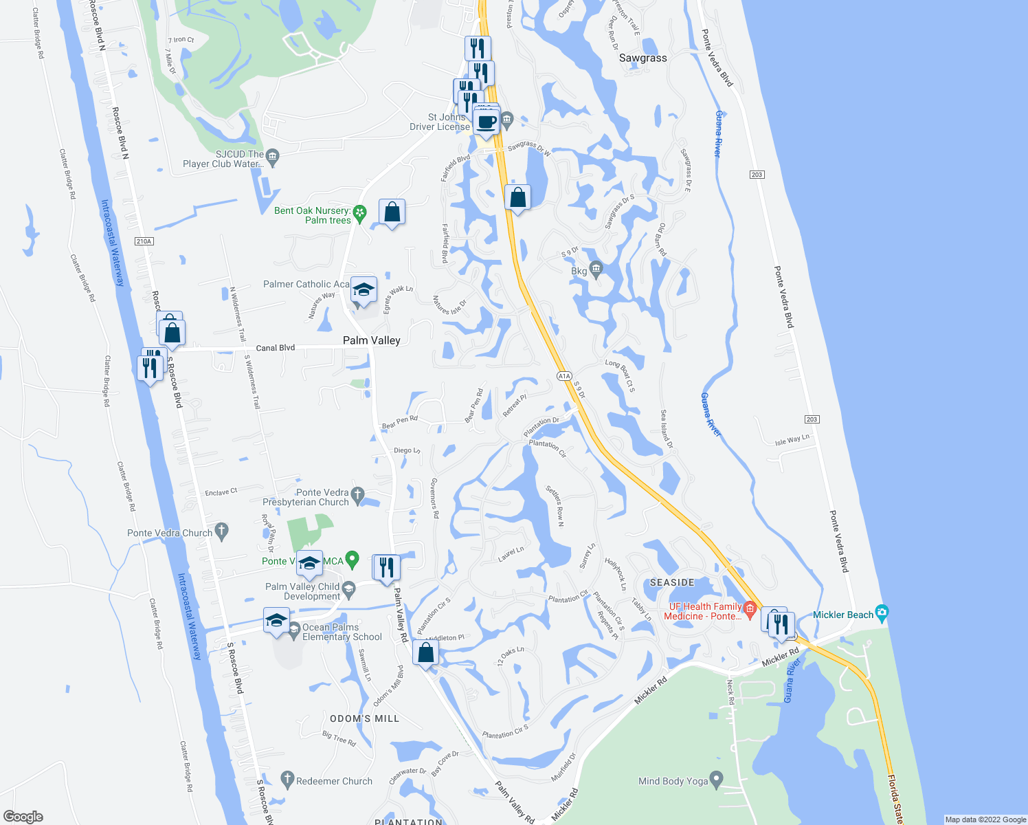 map of restaurants, bars, coffee shops, grocery stores, and more near 128 Retreat Place in Ponte Vedra