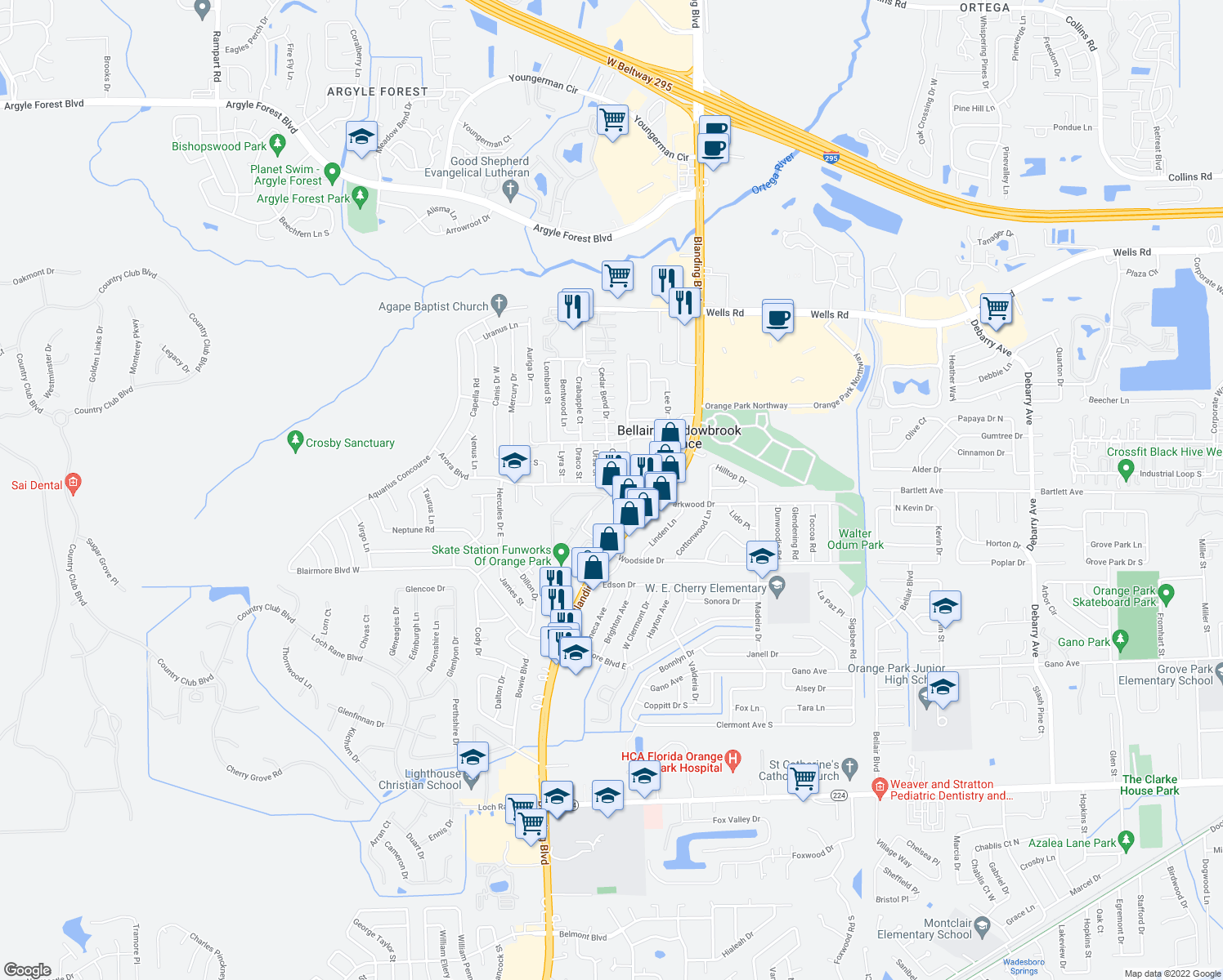 map of restaurants, bars, coffee shops, grocery stores, and more near 190 Arora Boulevard in Orange Park