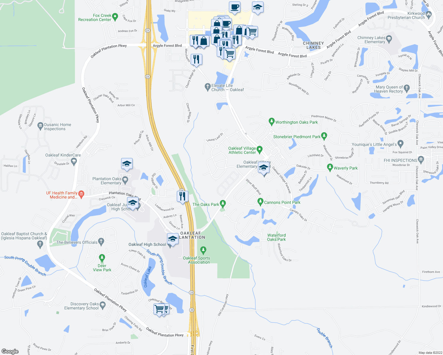 map of restaurants, bars, coffee shops, grocery stores, and more near 3750 Silver Bluff Boulevard in Orange Park