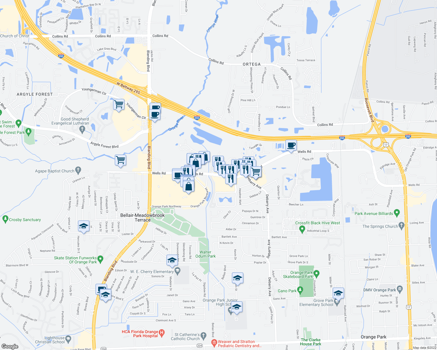 map of restaurants, bars, coffee shops, grocery stores, and more near 1780 Wells Road in Orange Park