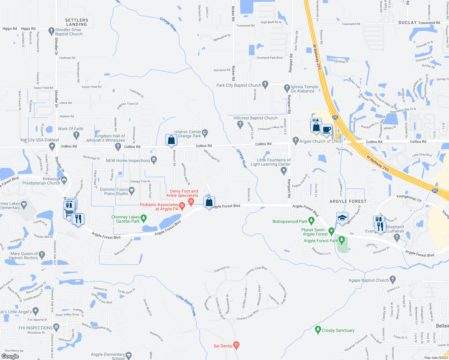map of restaurants, bars, coffee shops, grocery stores, and more near 8098 Coatbridge Ln E in Jacksonville