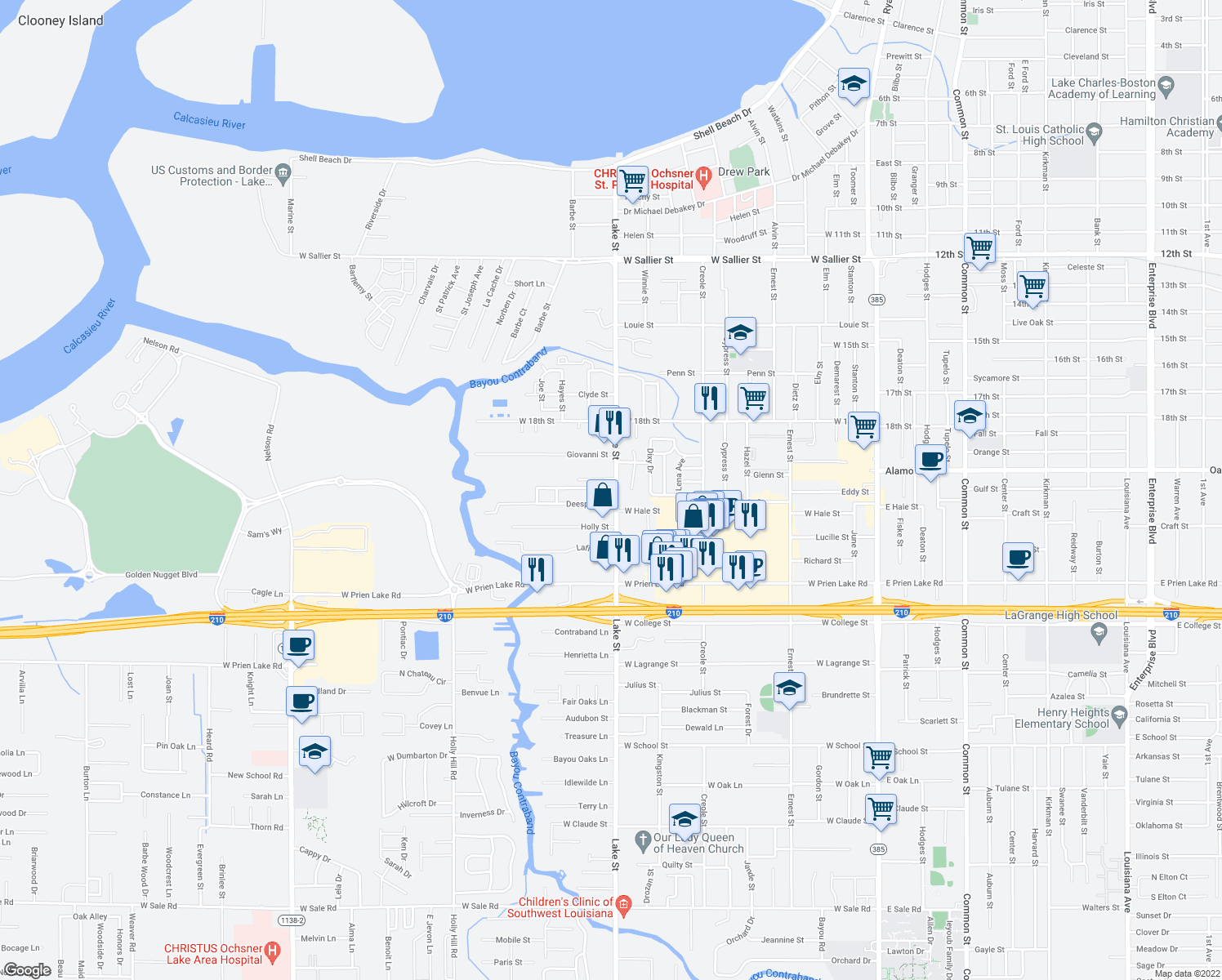map of restaurants, bars, coffee shops, grocery stores, and more near 2960 Lake Street in Lake Charles